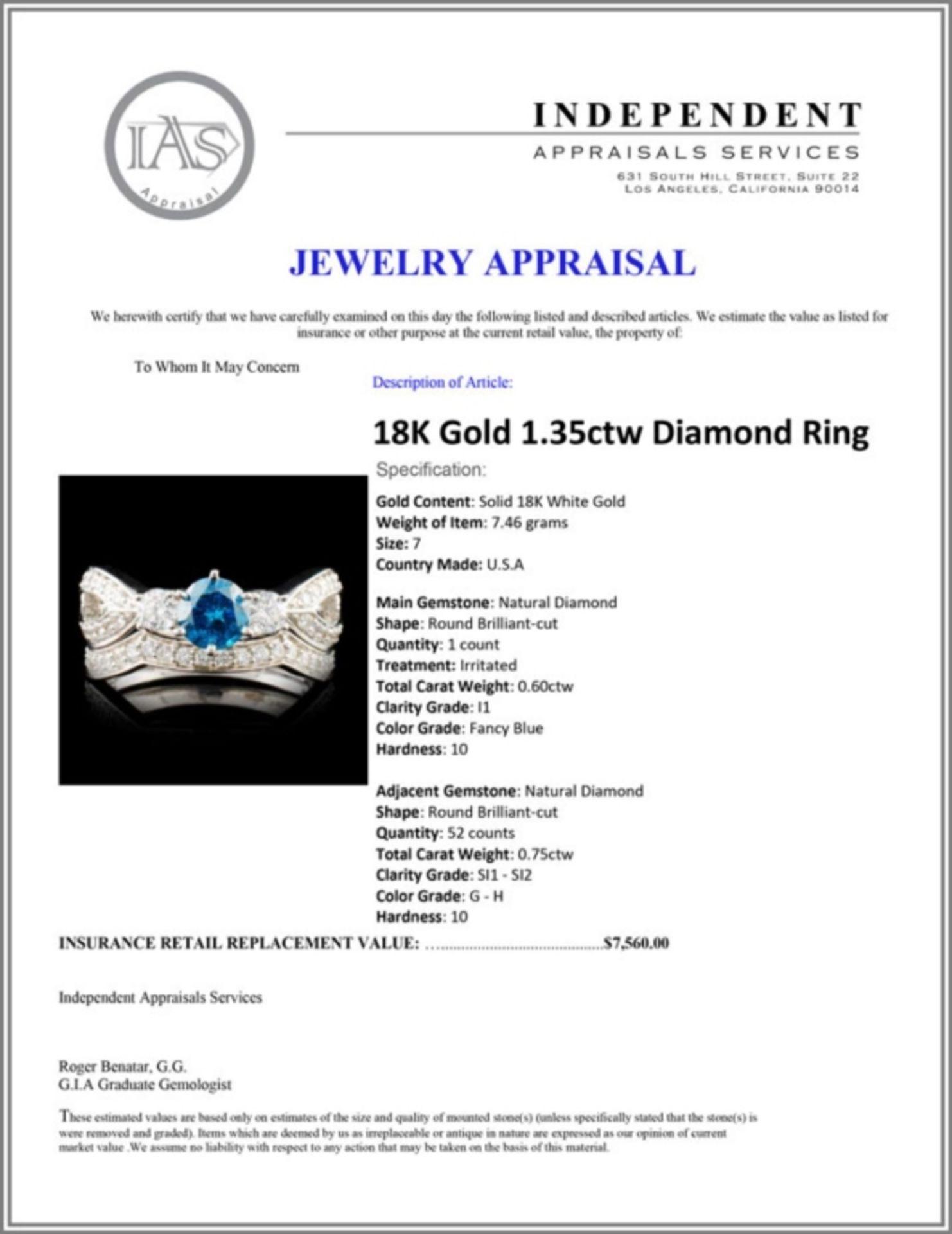 18K Gold 1.35ctw Diamond Ring - Image 5 of 5
