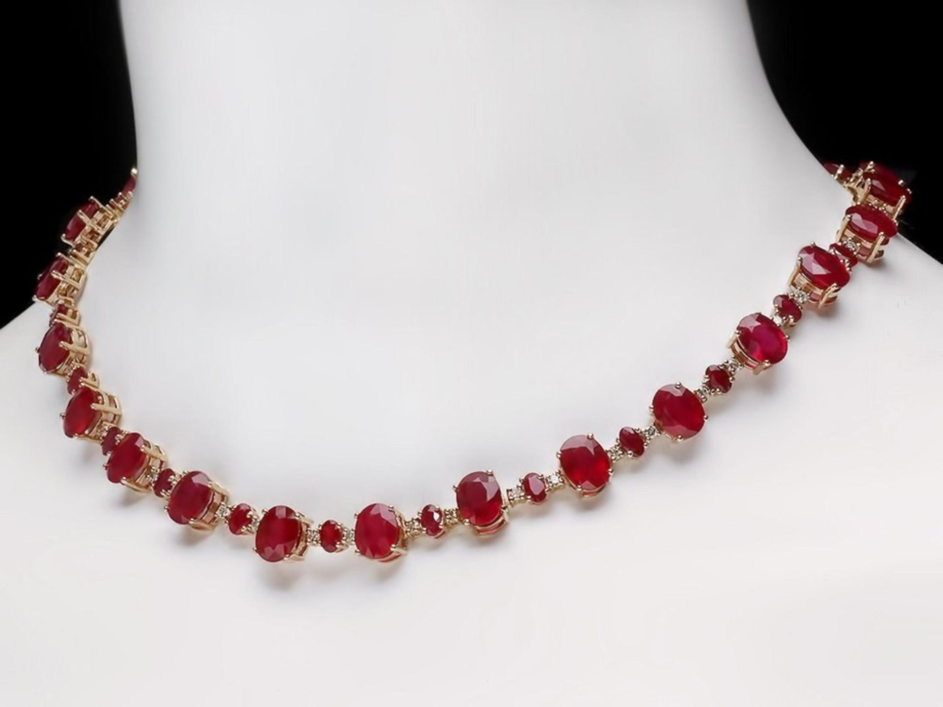 `14k Gold 54.00ct Ruby & 2.00ct Diamond Necklace - Image 4 of 5