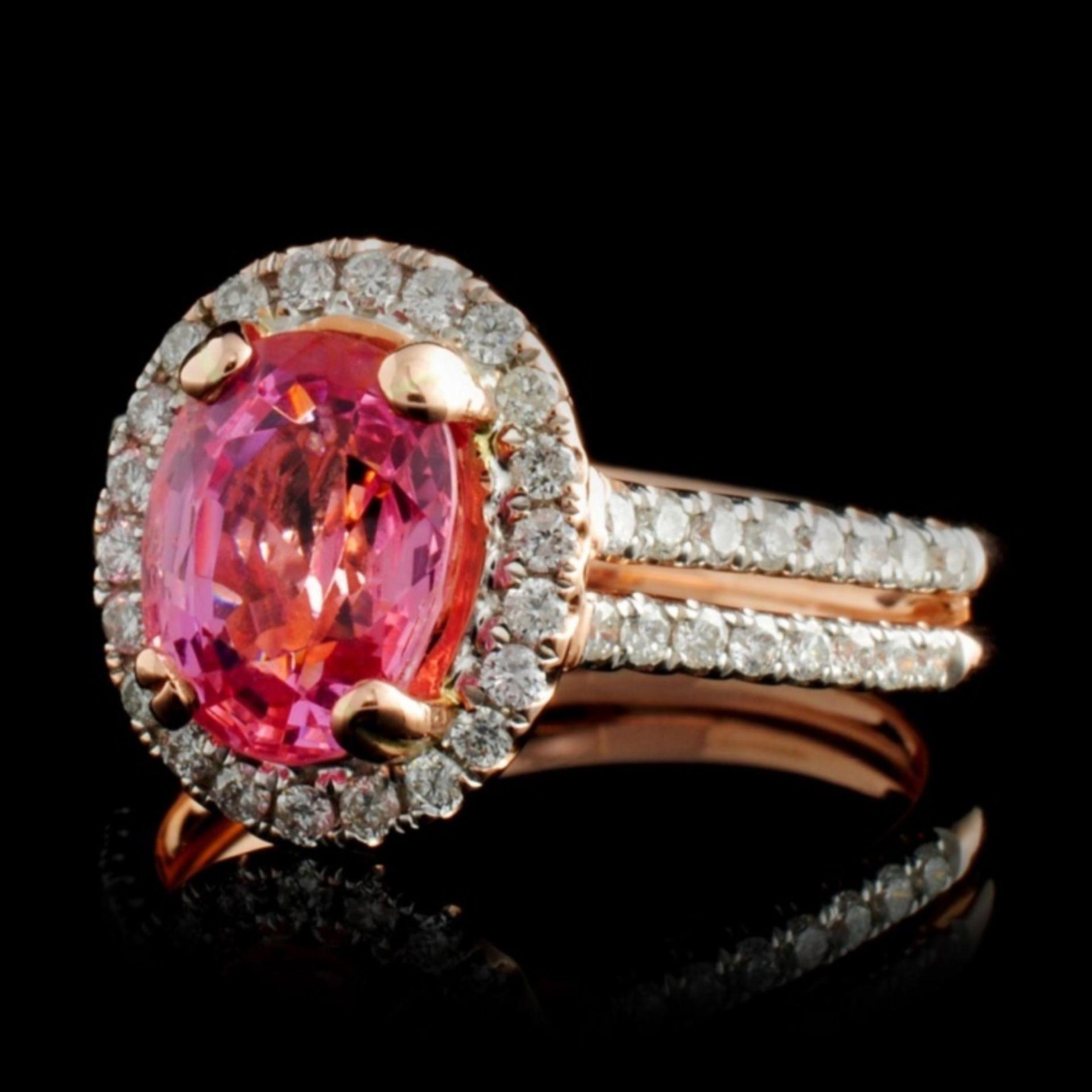 14K Rose Gold 2.40ct Spinel & 0.46ctw Diamond Ring - Image 2 of 4