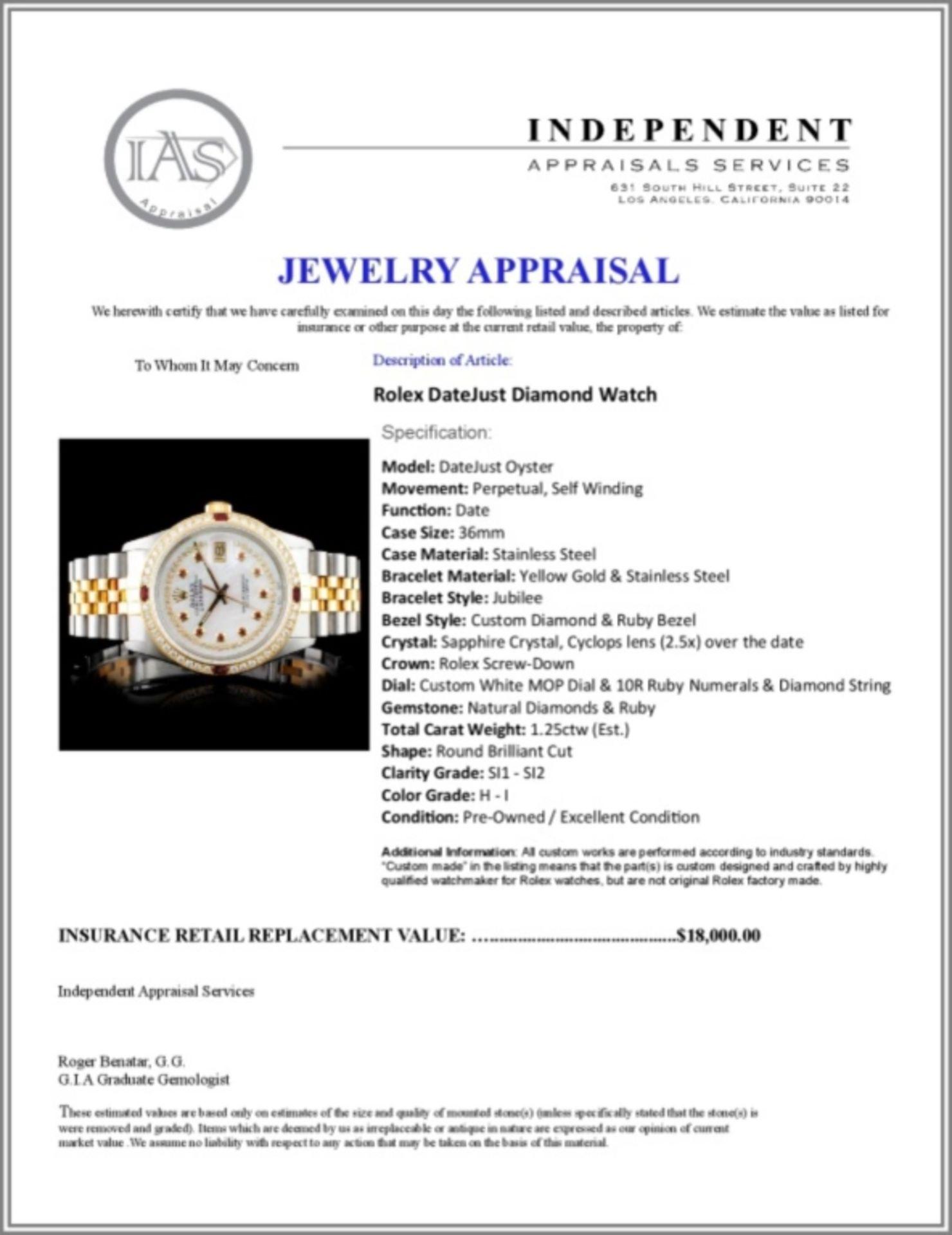 Rolex DateJust 18K/SS Diamond 36mm Watch - Image 5 of 5