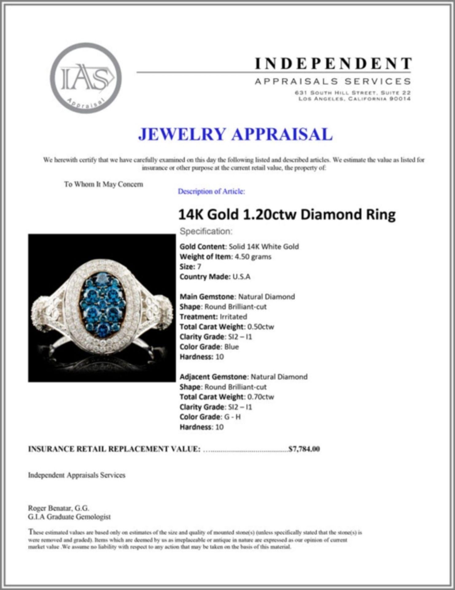 14K Gold 1.20ctw Diamond Ring - Image 5 of 5