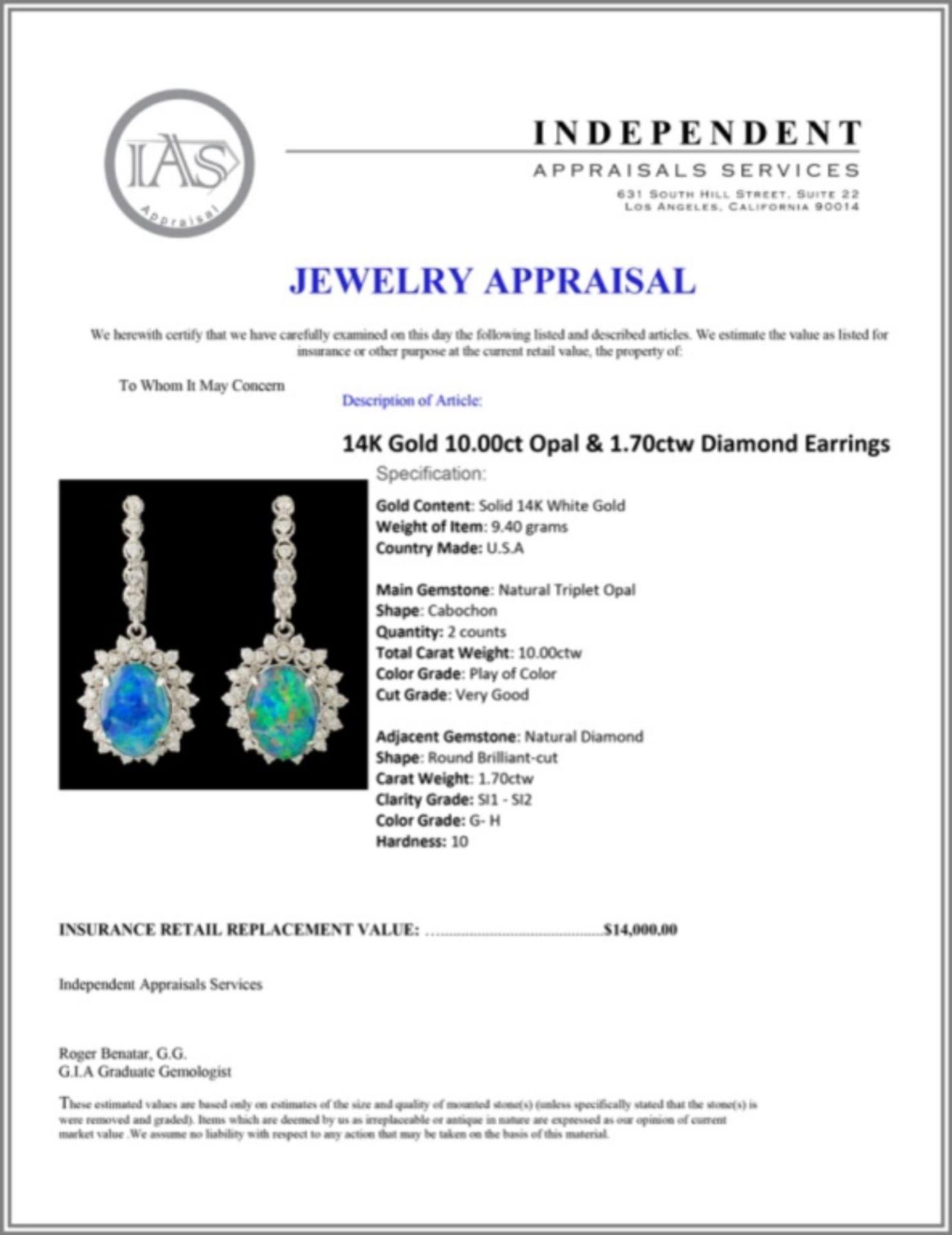 14K Gold 10.00ct Opal & 1.70ctw Diamond Earrings - Image 3 of 3