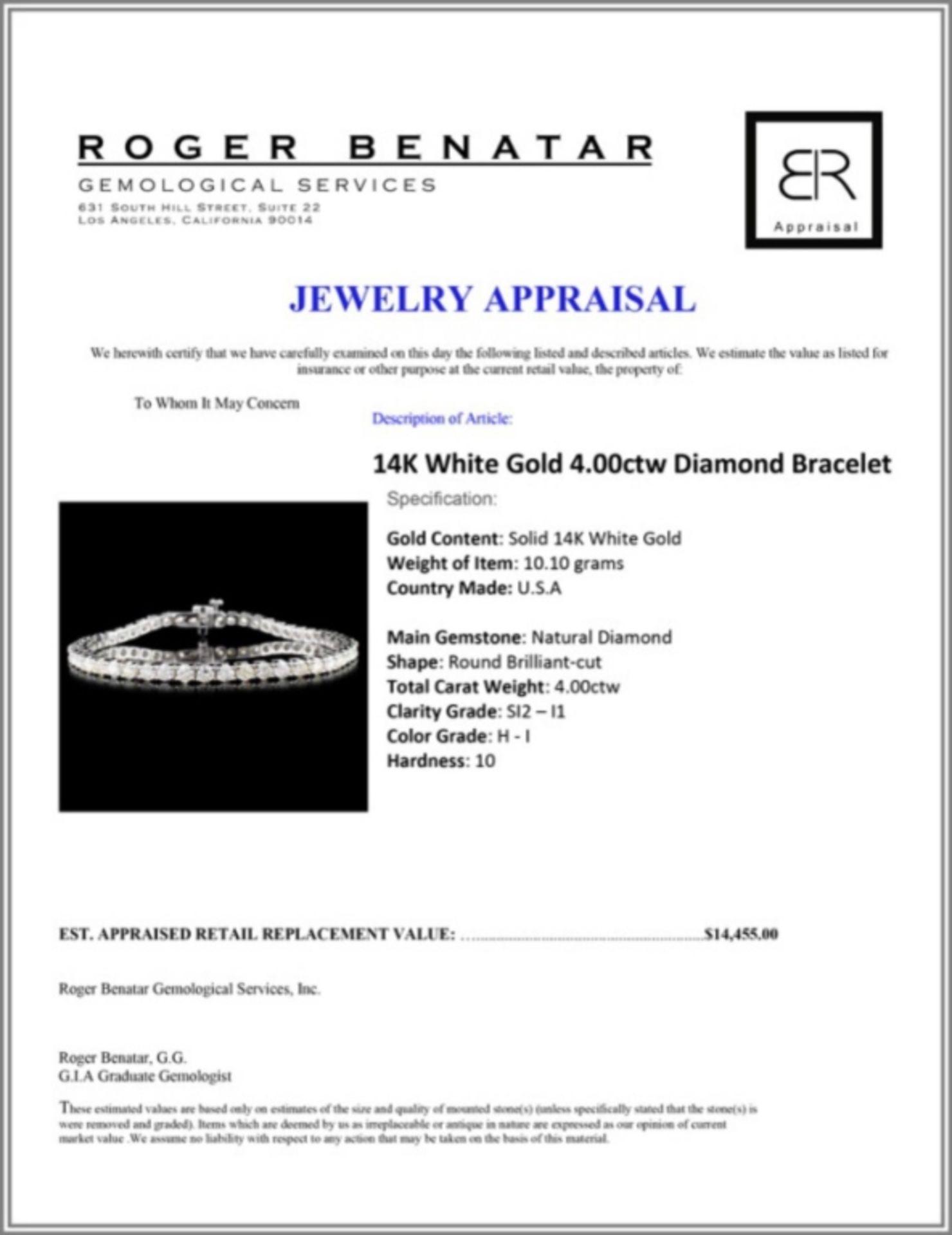 14K White Gold 4.00ctw Diamond Bracelet - Image 3 of 3