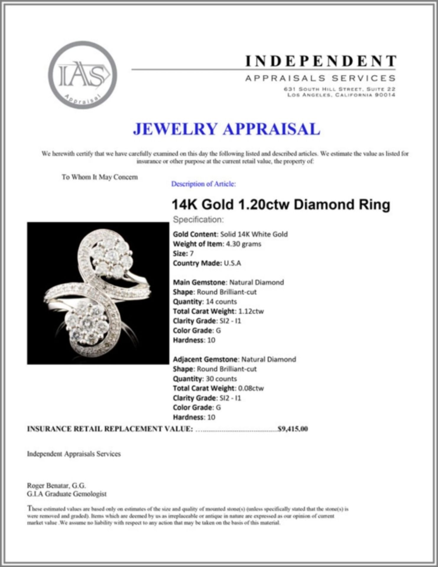 14K Gold 1.20ctw Diamond Ring - Image 5 of 5