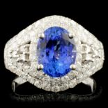 18K Gold 2.69ct Tanzanite & 1.65ctw Diamond Ring
