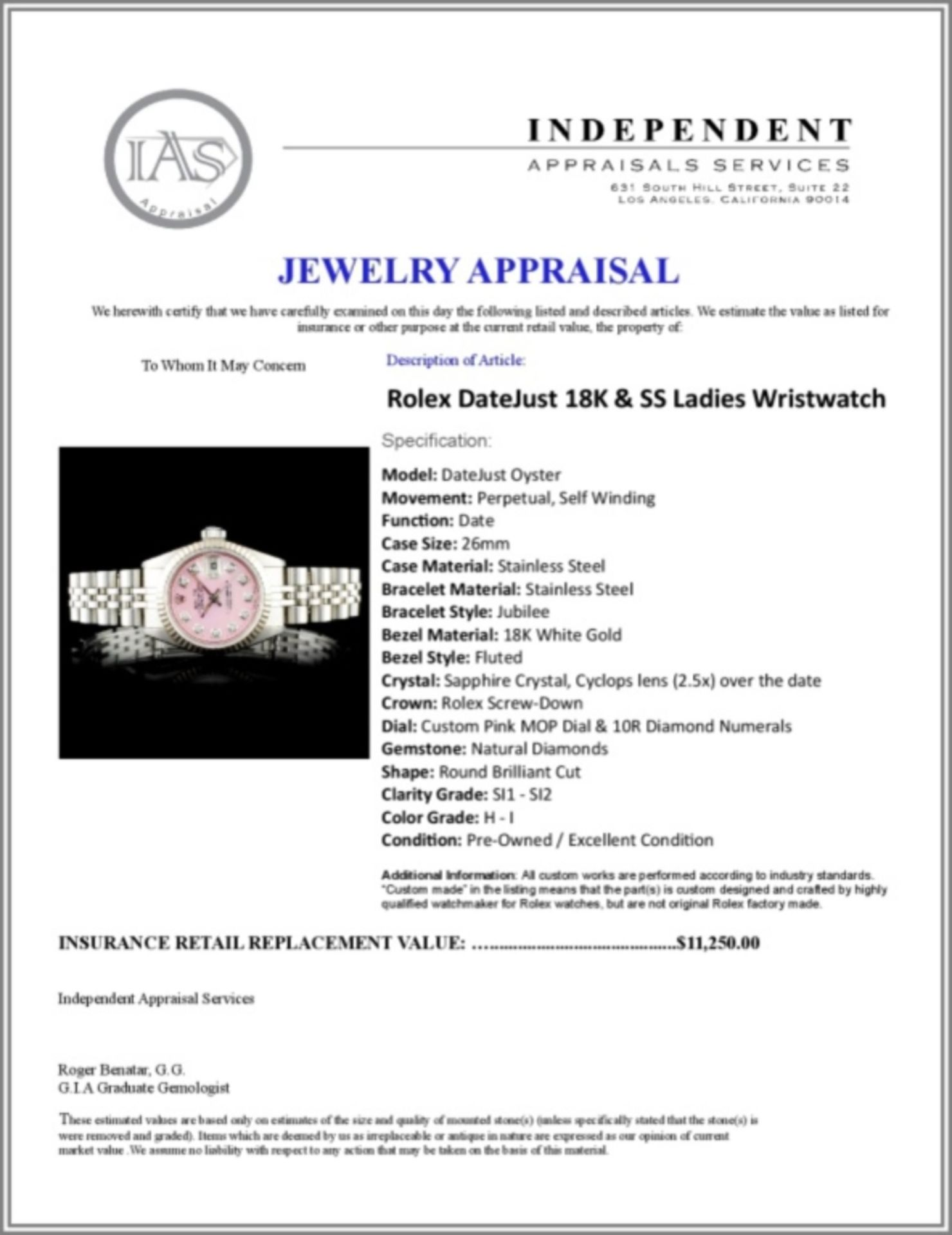 Rolex DateJust 18K & SS Ladies Wristwatch - Image 6 of 6