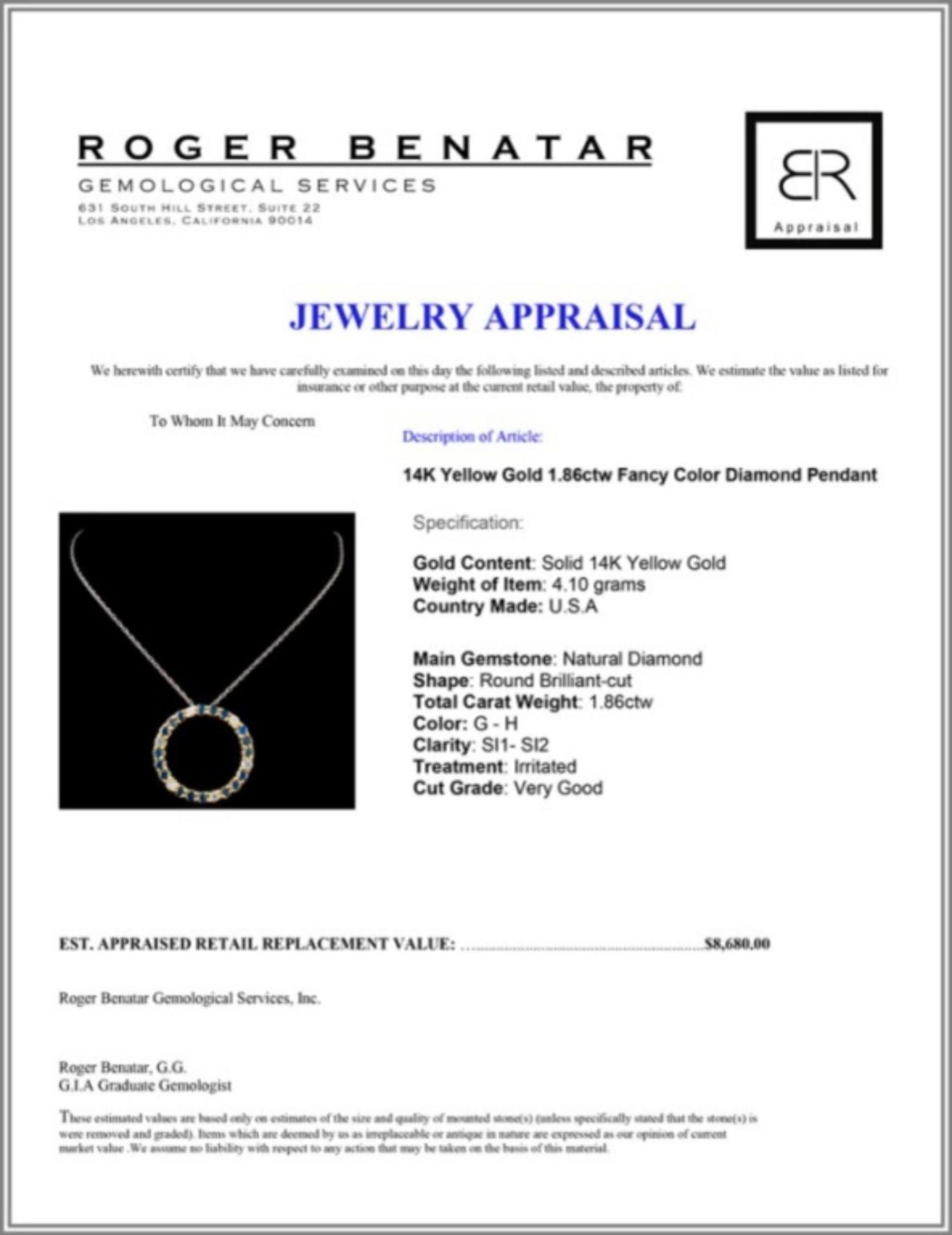 14K Yellow Gold 1.86ctw Fancy Color Diamond Pendan - Image 3 of 3