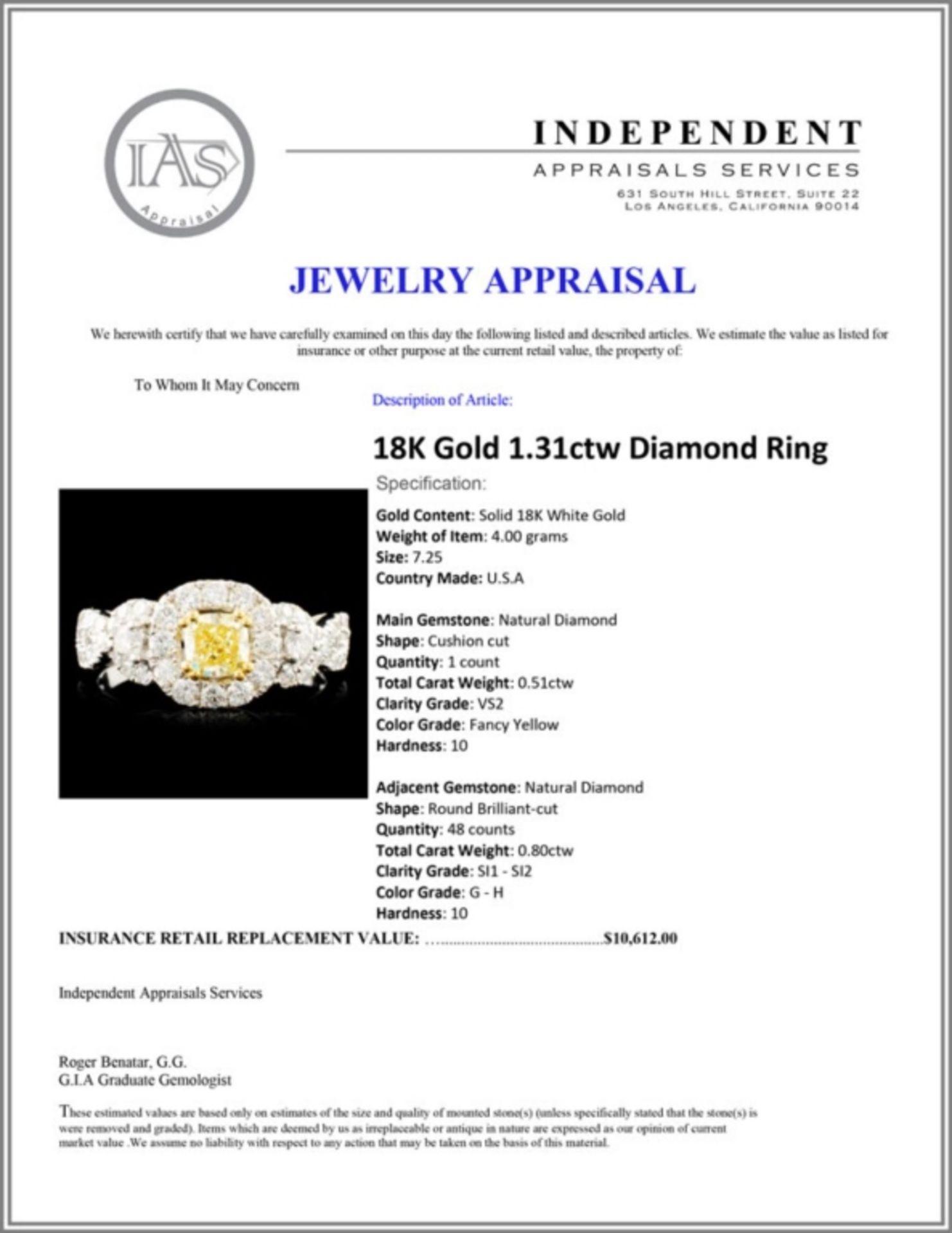 18K Gold 1.31ctw Diamond Ring - Image 5 of 5