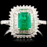18K Gold 1.00ct Emerald & 0.72ctw Diamond Ring