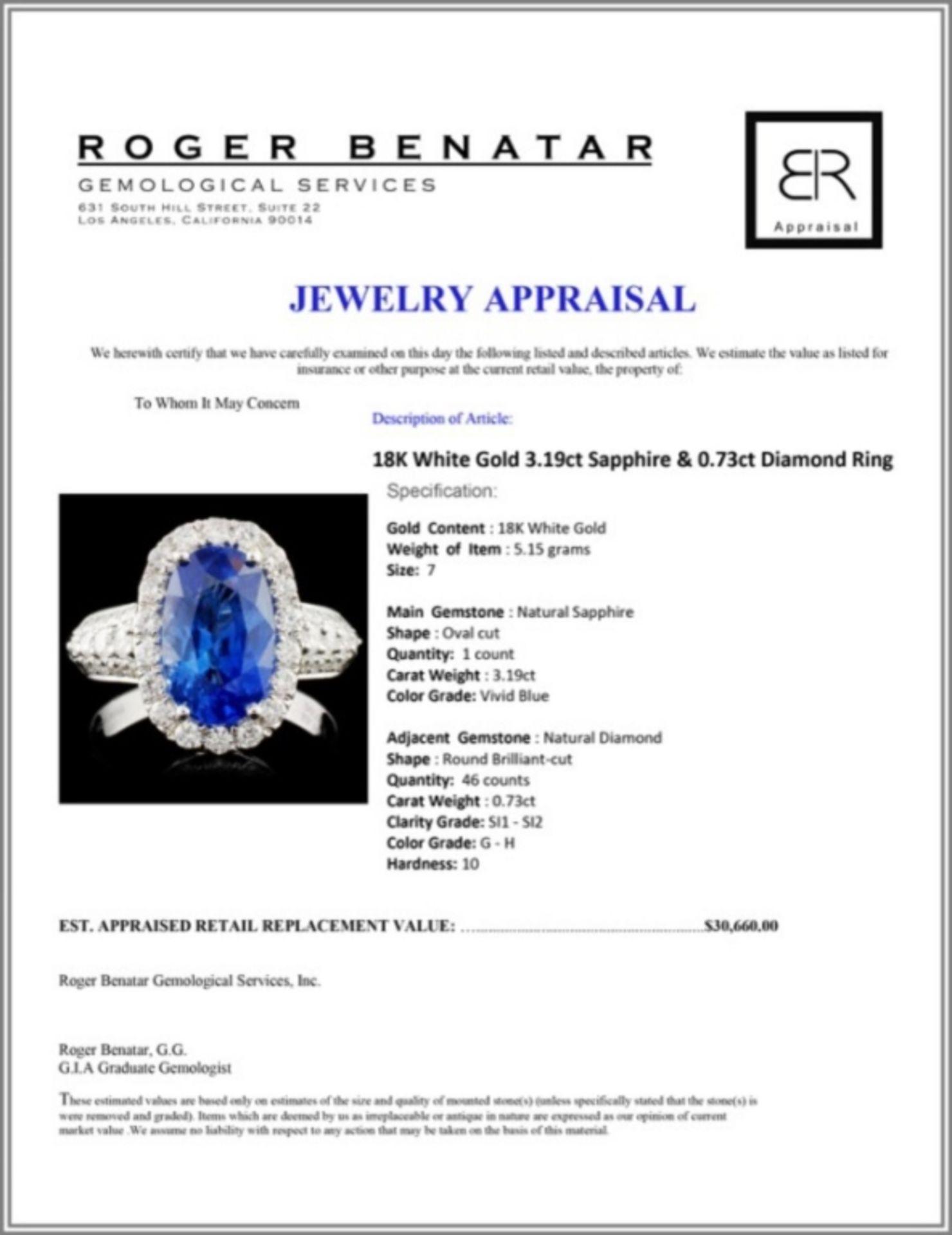 18K White Gold 3.19ct Sapphire & 0.73ct Diamond Ri - Image 4 of 4