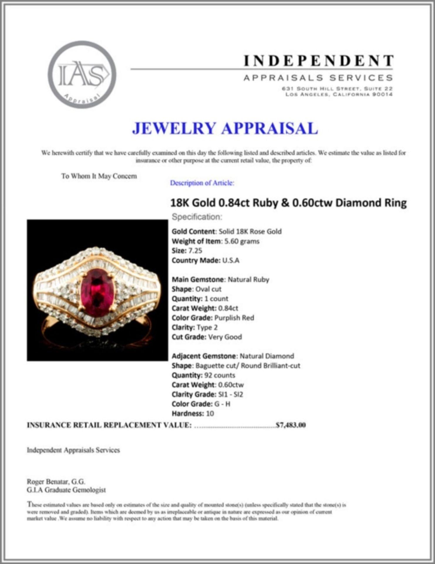 18K Gold 0.84ct Ruby & 0.60ctw Diamond Ring - Image 5 of 5