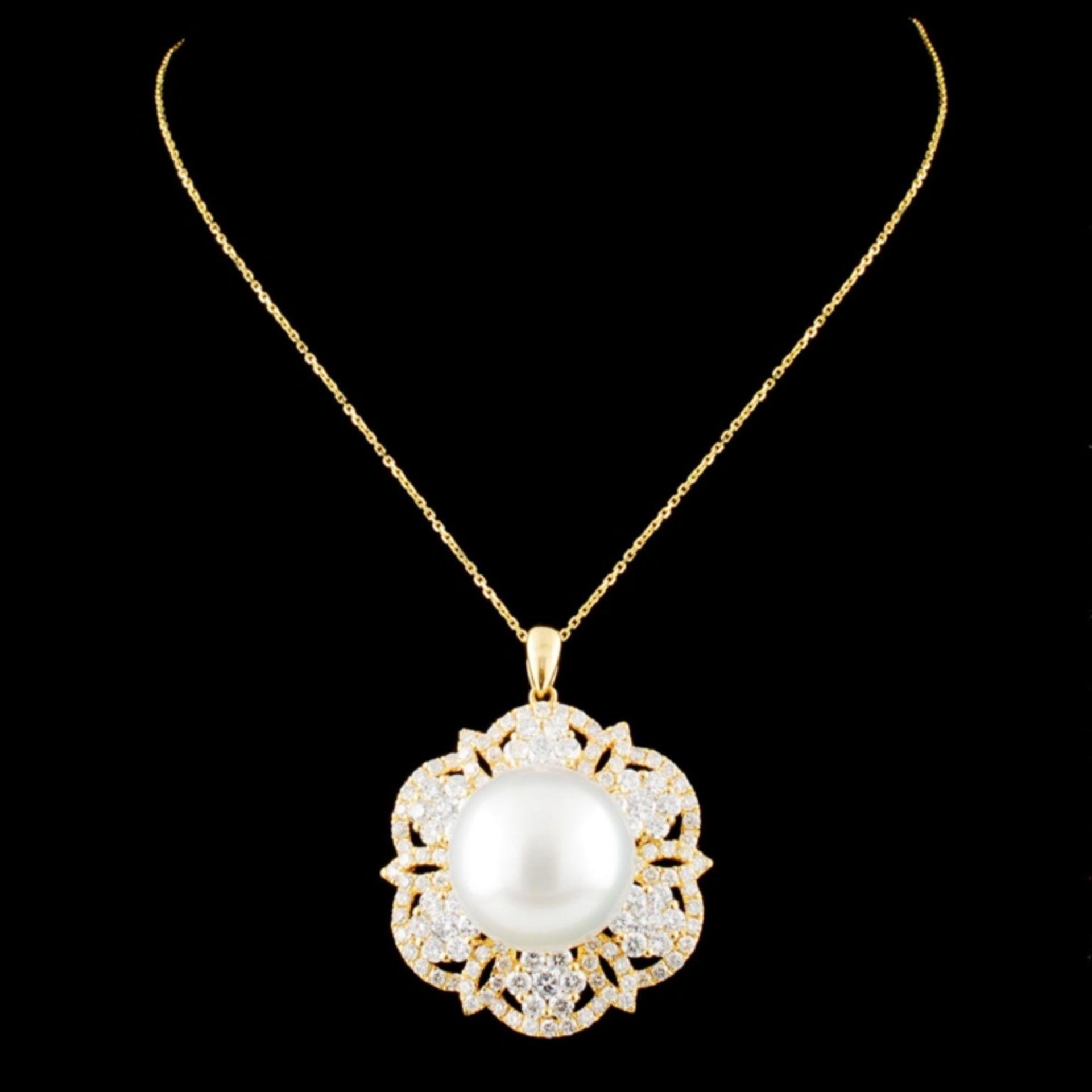 18K Gold 14.00MM Pearl & 2.26ctw Diamond Pendant - Image 2 of 4