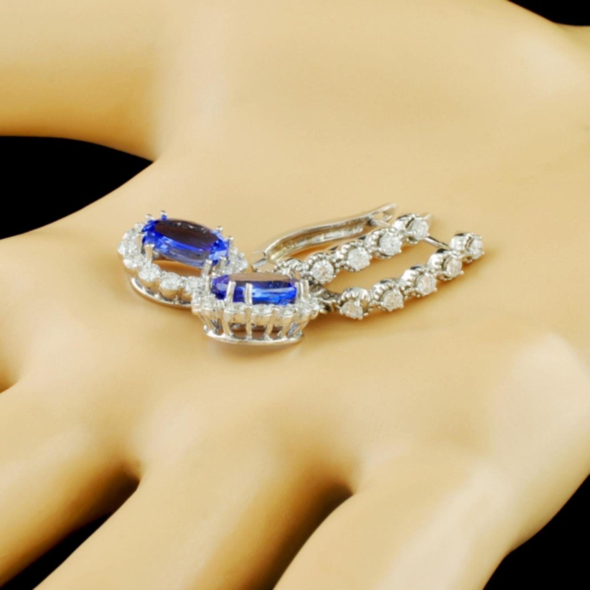 14K Gold 4.00ct Tanzanite & 1.50ctw Diamond Earrin - Image 2 of 3
