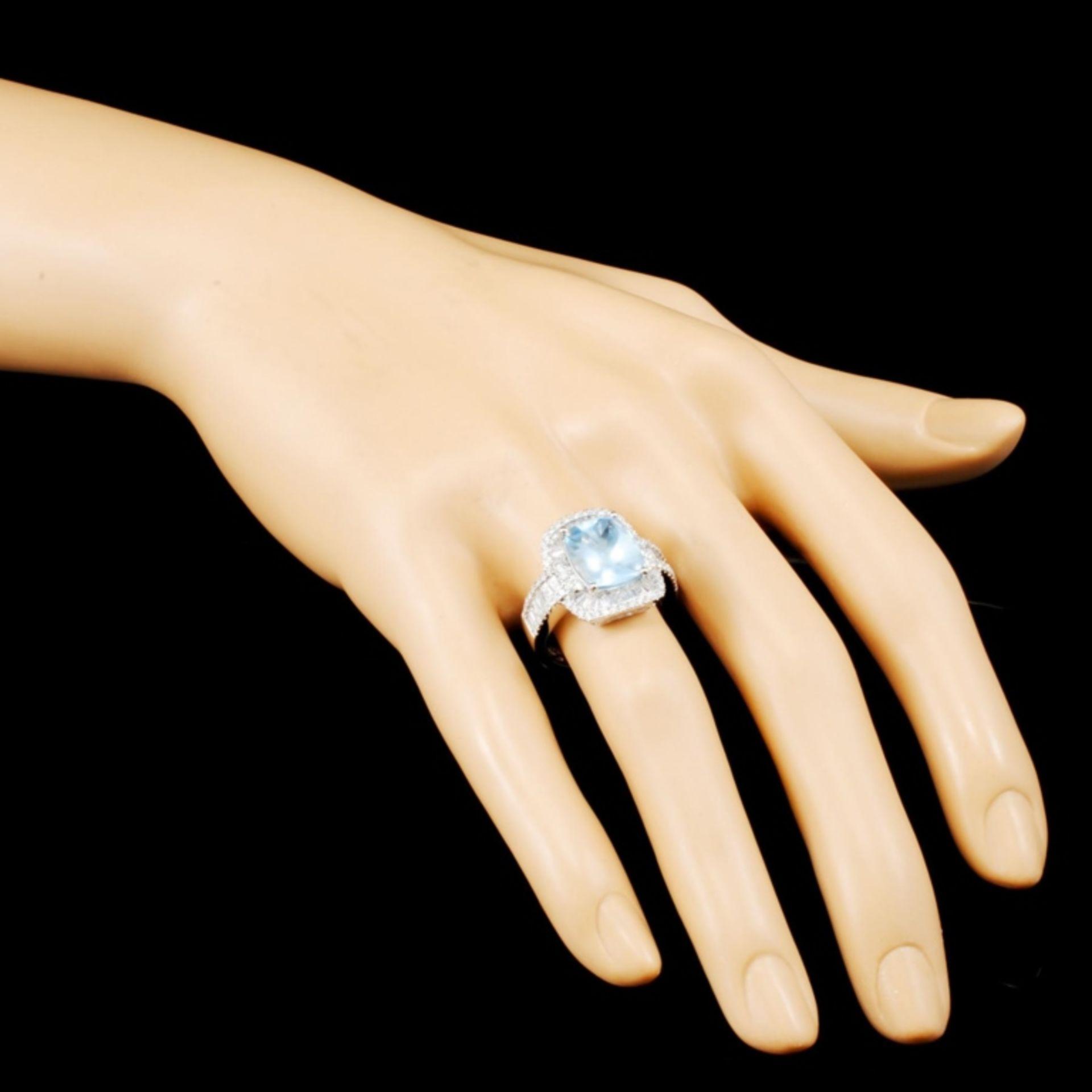 14K Gold 3.43ct Aquamarine & 1.30ctw Diamond Ring - Image 3 of 5