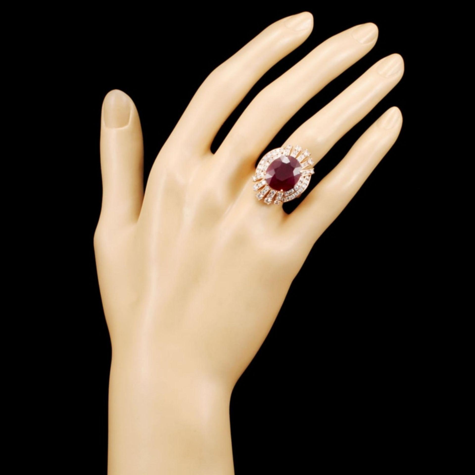 14K Gold 12.24ct Ruby & 2.02ctw Diamond Ring - Image 4 of 5