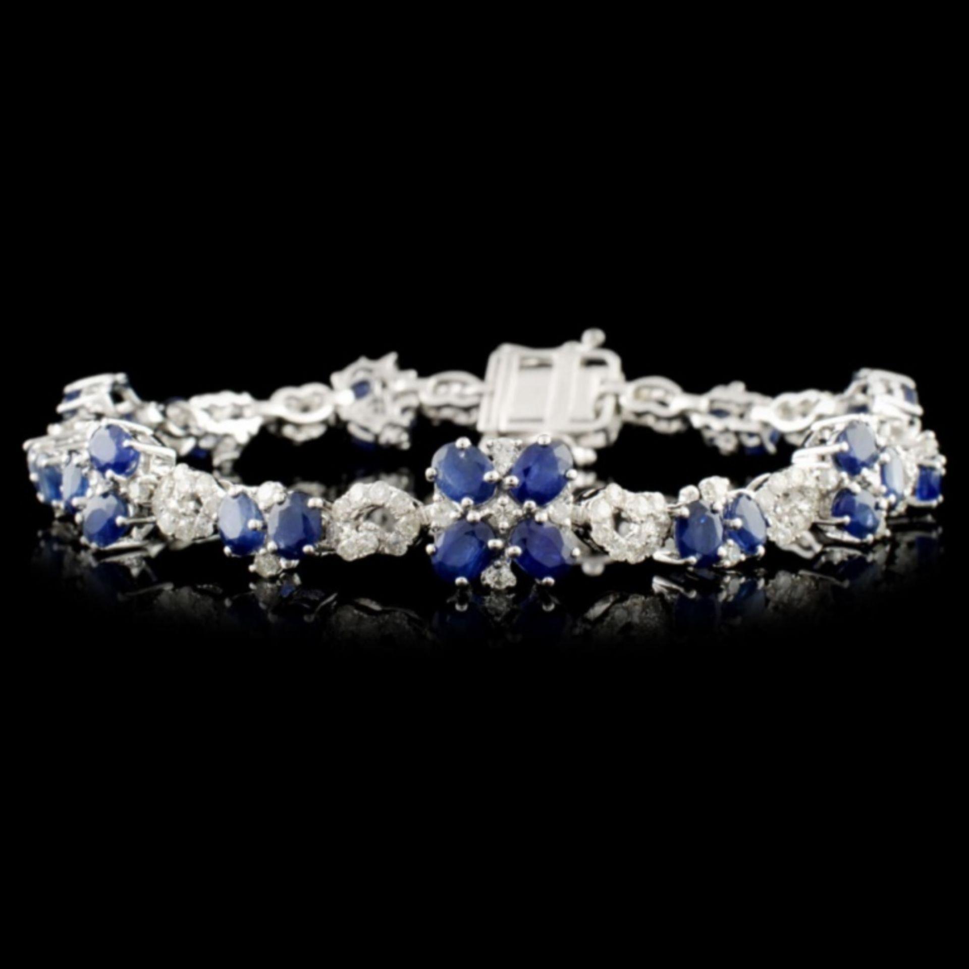 14K Gold 7.68ctw Sapphire & 1.89ctw Diamond Bracel