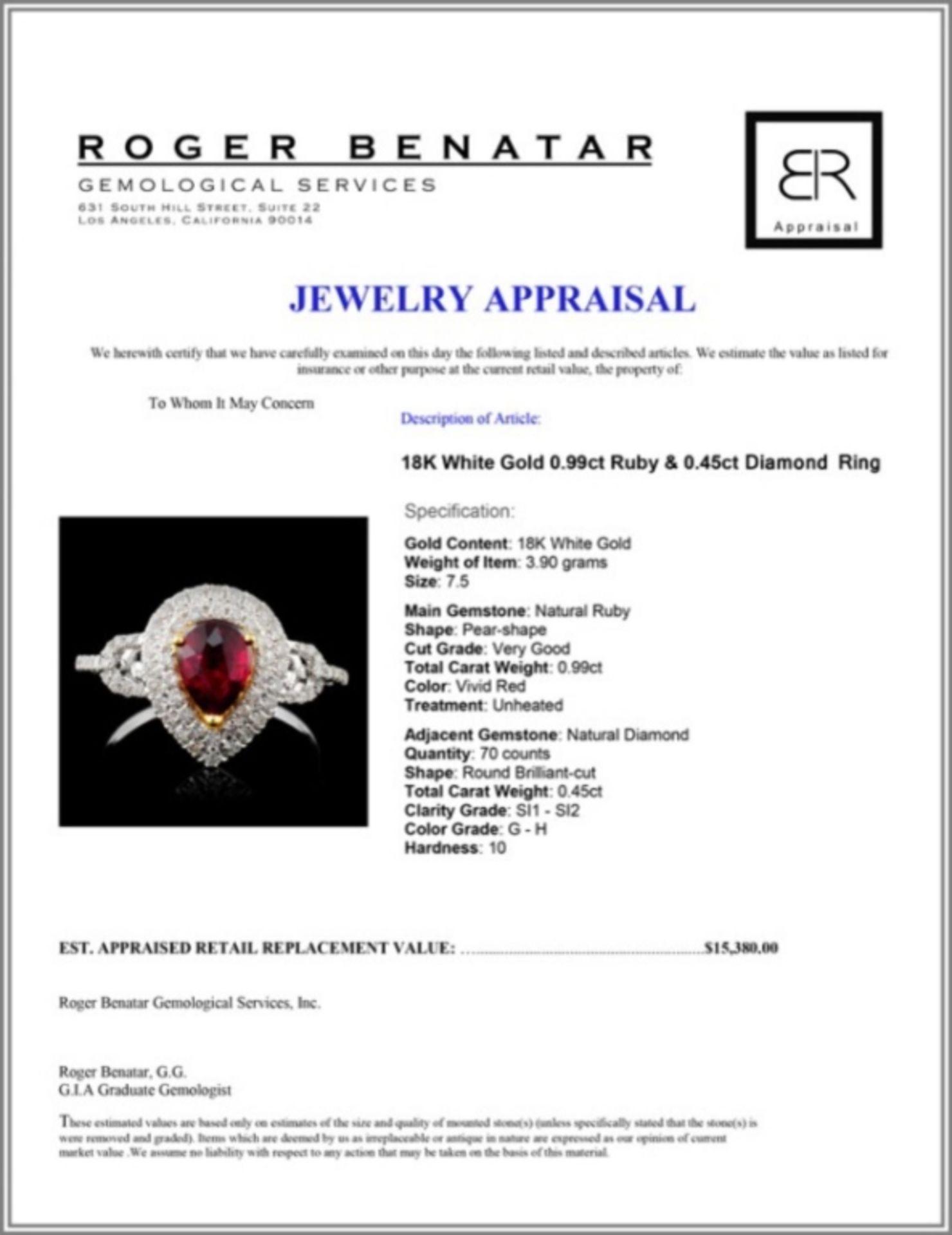 18K White Gold 0.99ct Ruby & 0.45ct Diamond Ring - Image 4 of 4