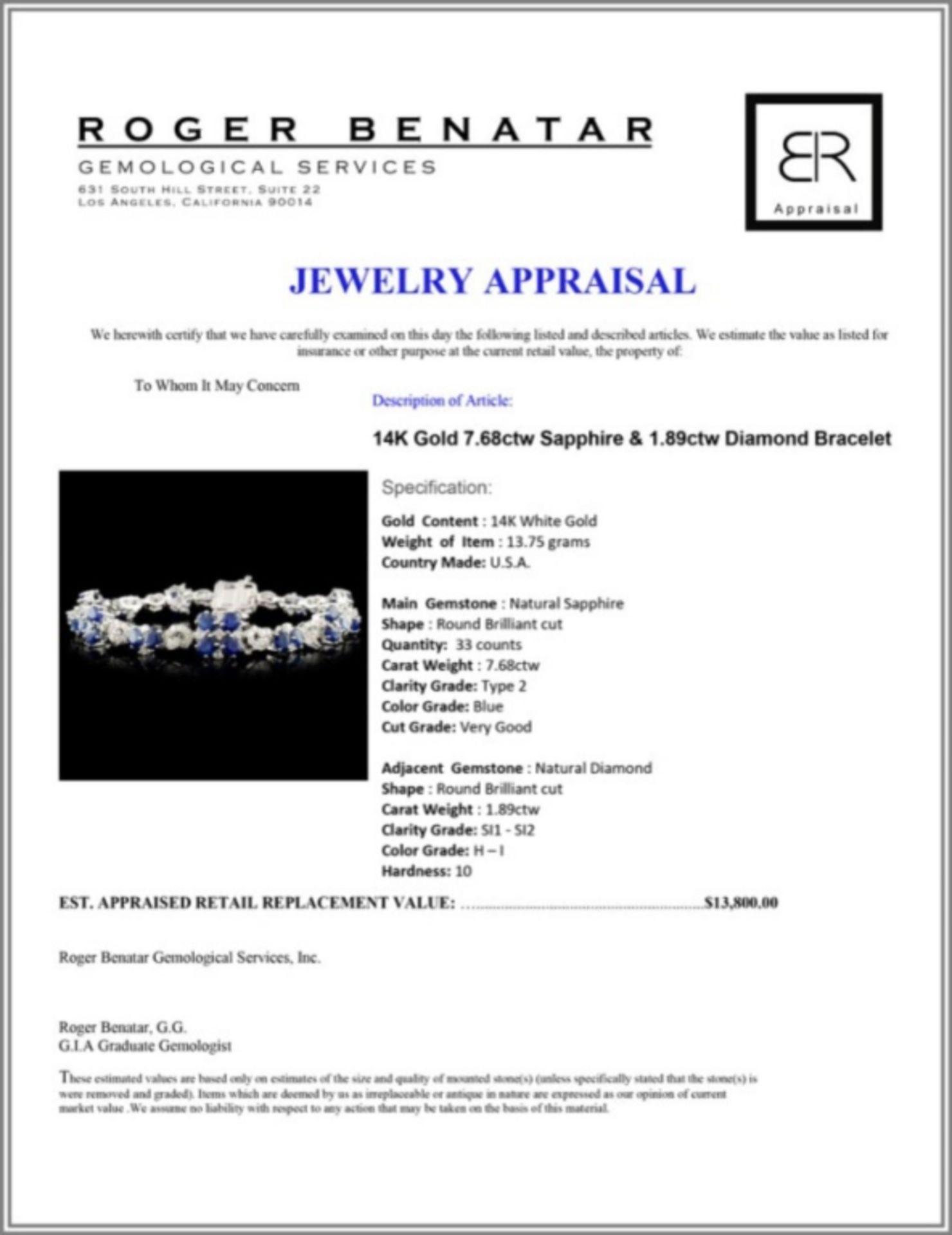 14K Gold 7.68ctw Sapphire & 1.89ctw Diamond Bracel - Image 3 of 3
