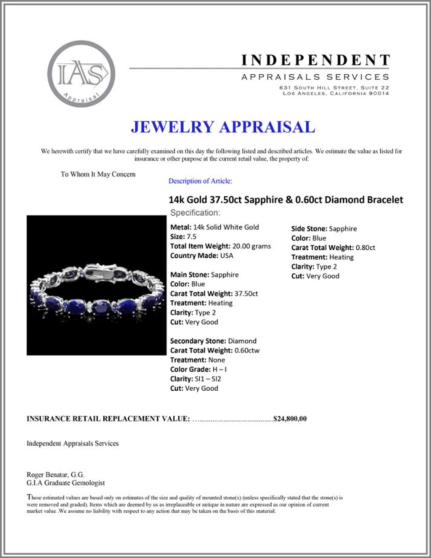 `14k Gold 37.50ct Sapphire & 0.60ct Diamond Bracel - Image 3 of 3