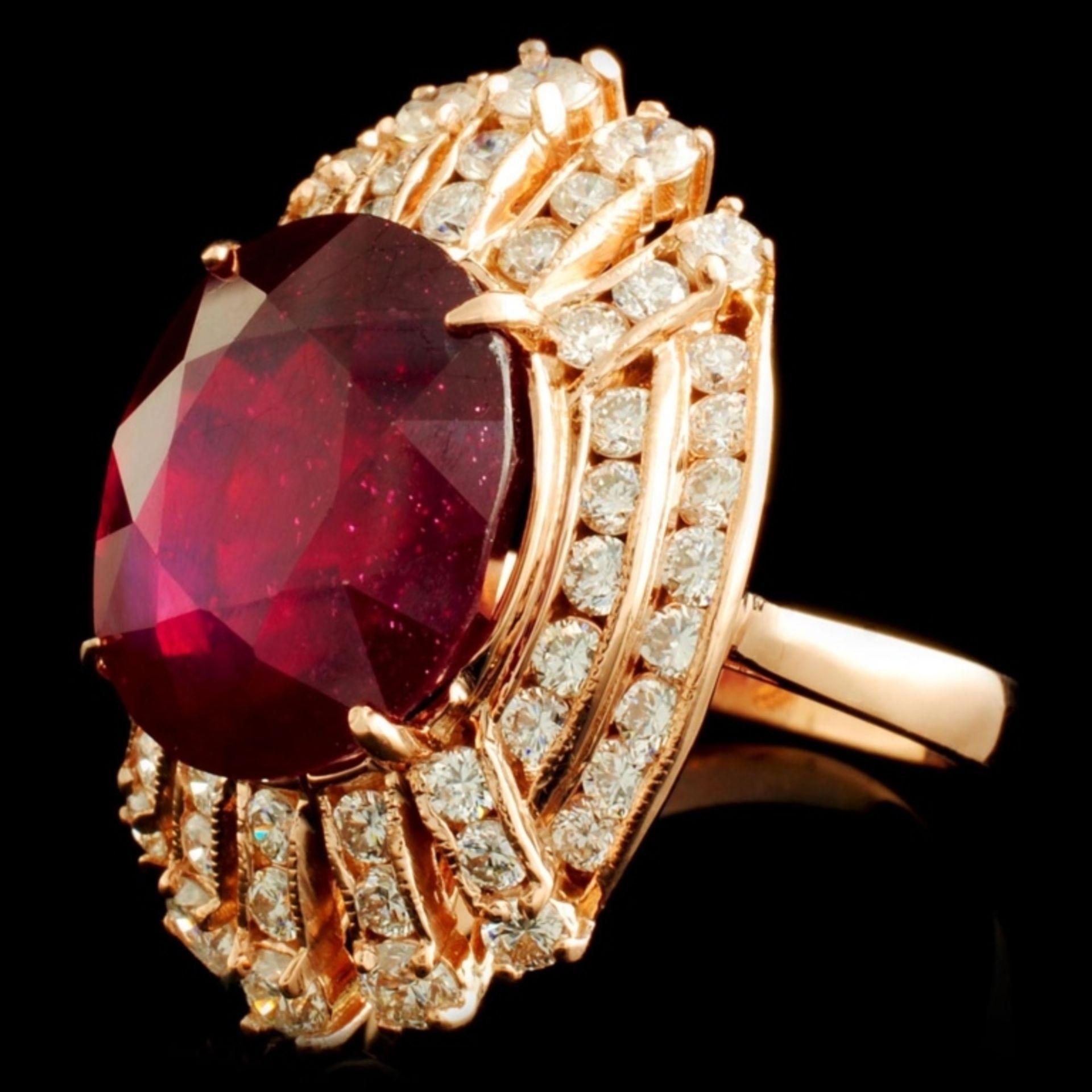 14K Gold 12.24ct Ruby & 2.02ctw Diamond Ring - Image 2 of 5