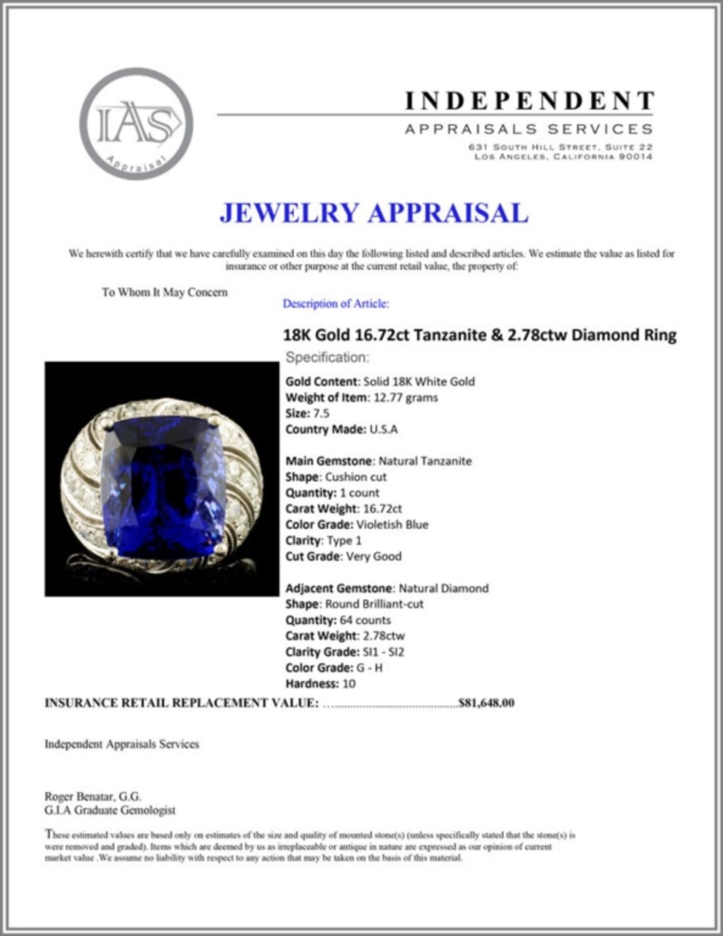 18K Gold 16.72ct Tanzanite & 2.78ctw Diamond Ring - Image 6 of 6