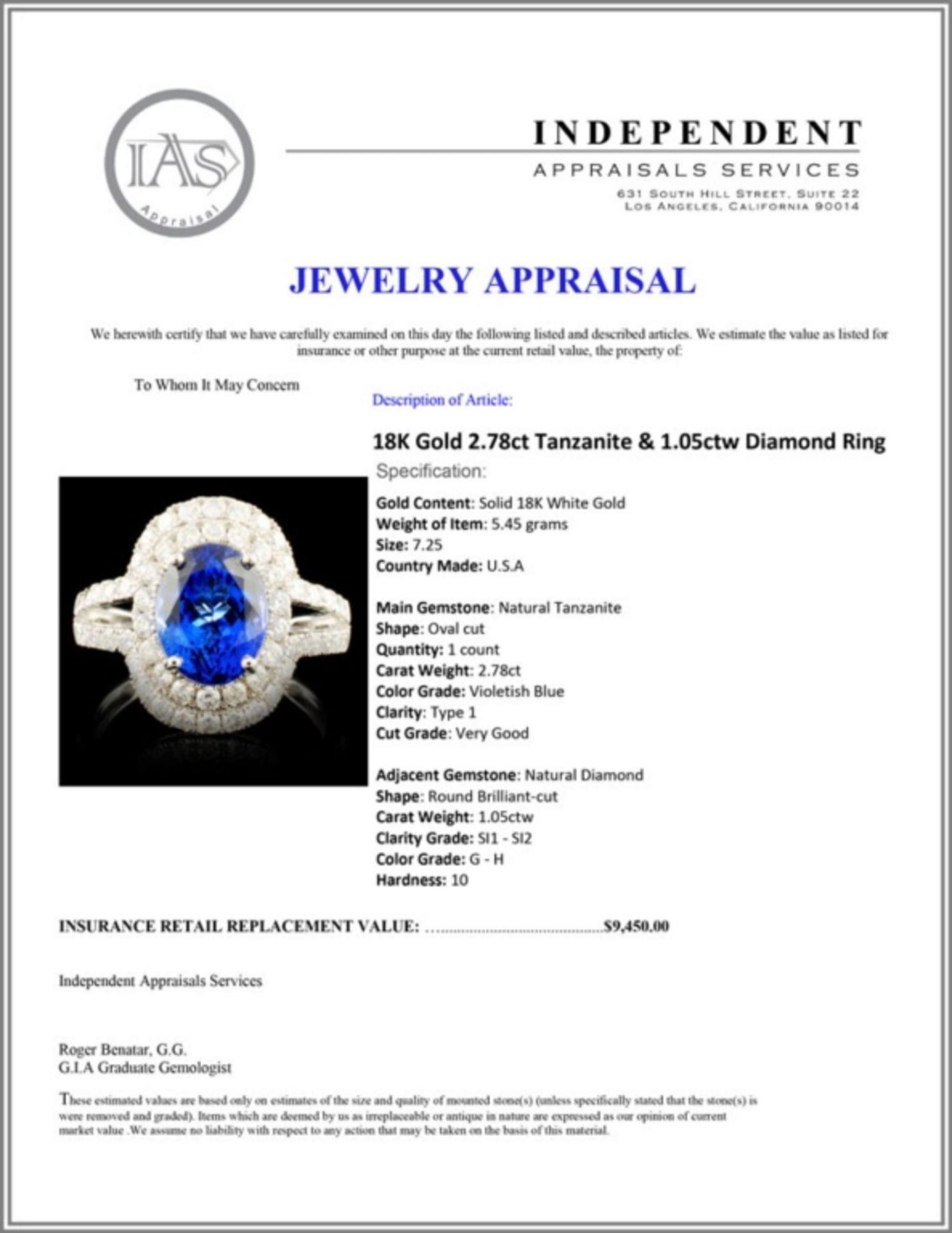 18K Gold 2.78ct Tanzanite & 1.05ctw Diamond Ring - Image 5 of 5