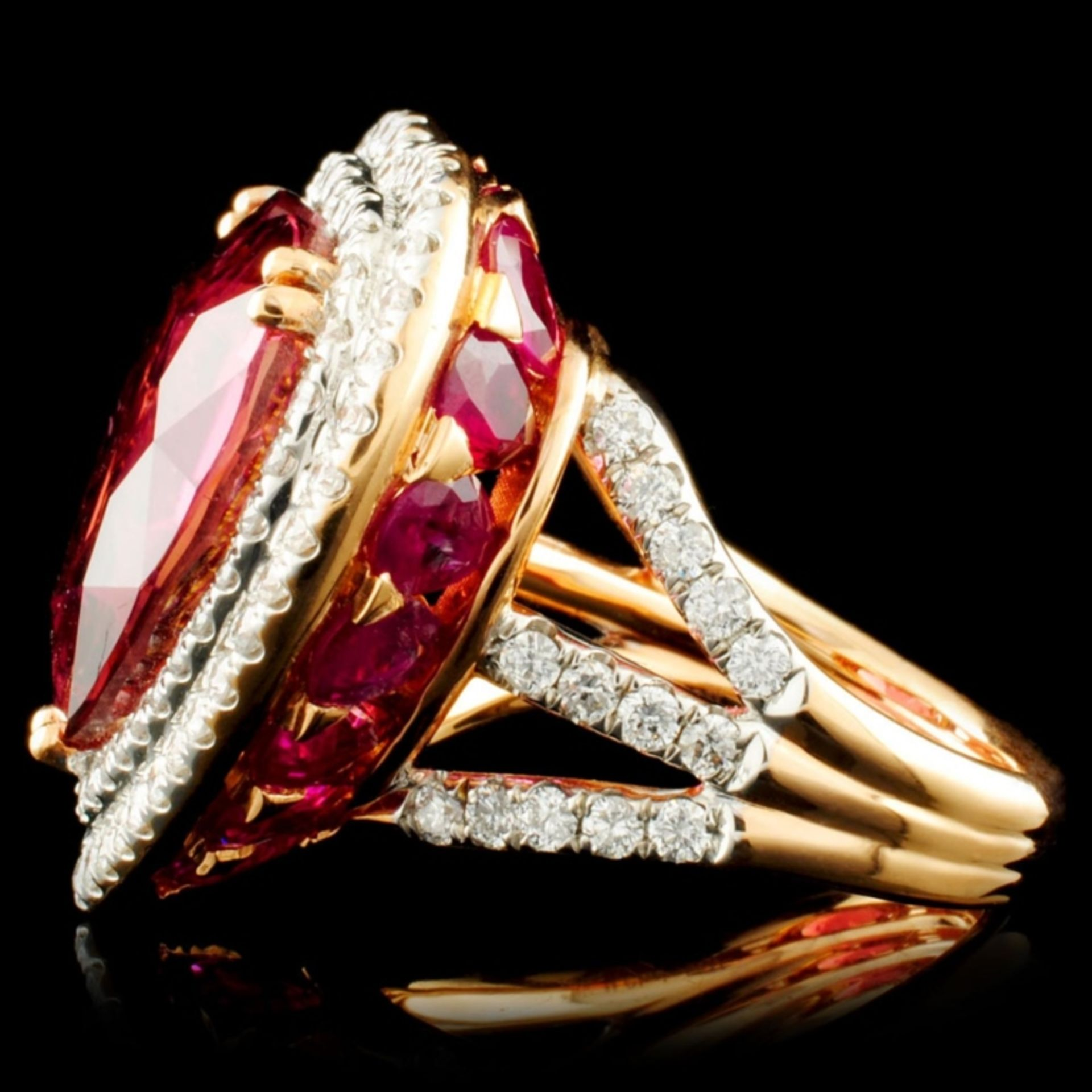 18K Gold 16.47ct Rubellite & 1.76ctw Diamond Ring - Image 5 of 6