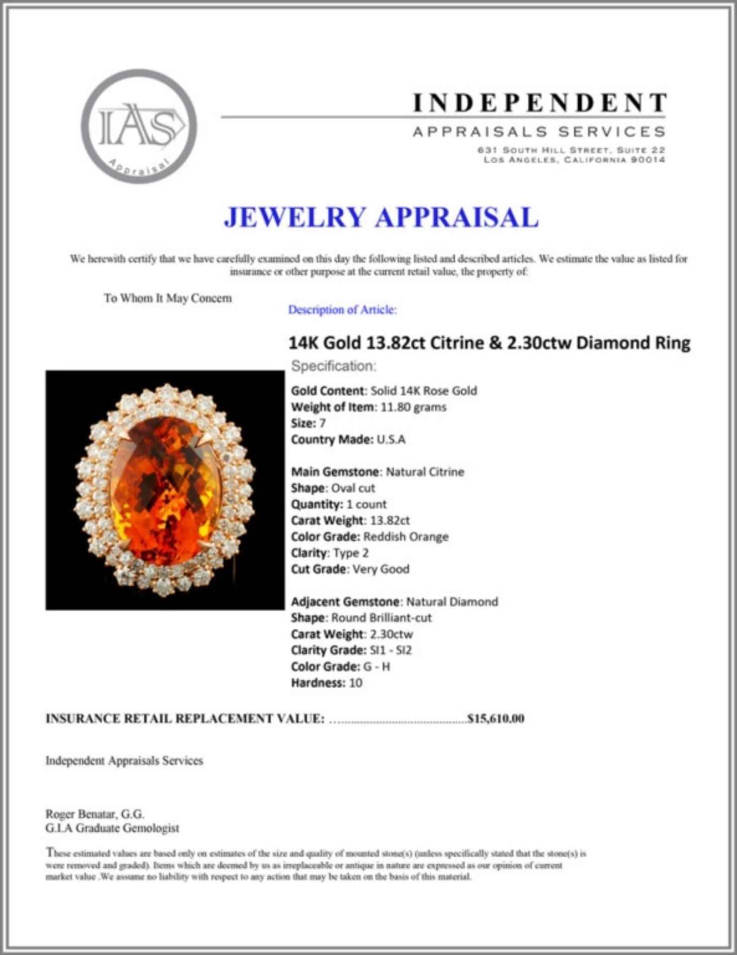 14K Gold 13.82ct Citrine & 2.30ctw Diamond Ring - Image 5 of 5