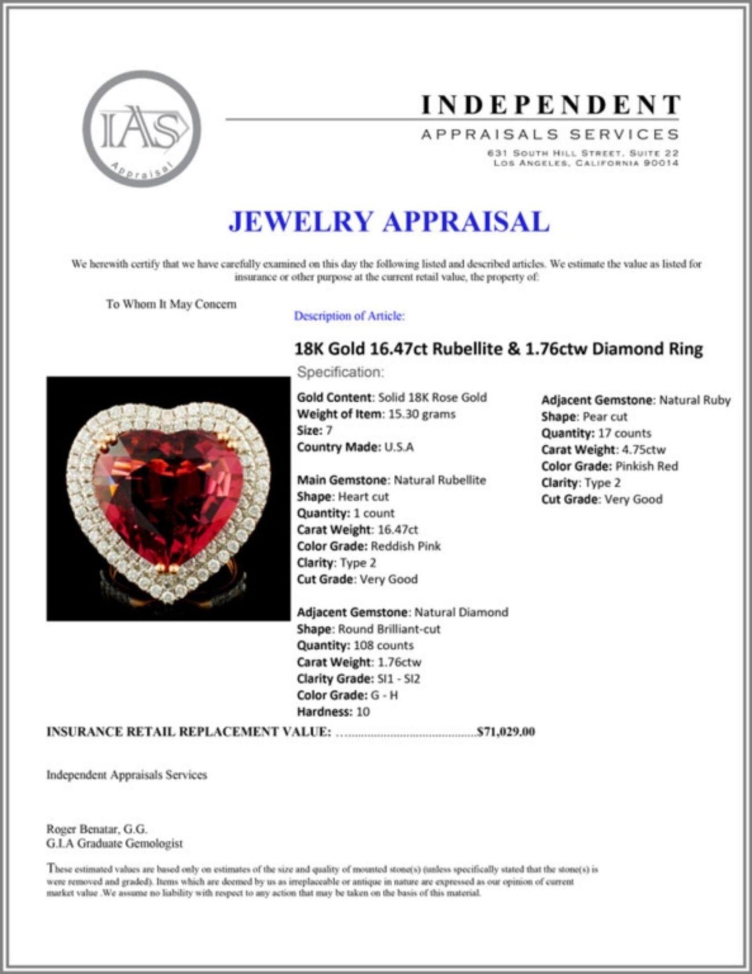 18K Gold 16.47ct Rubellite & 1.76ctw Diamond Ring - Image 6 of 6
