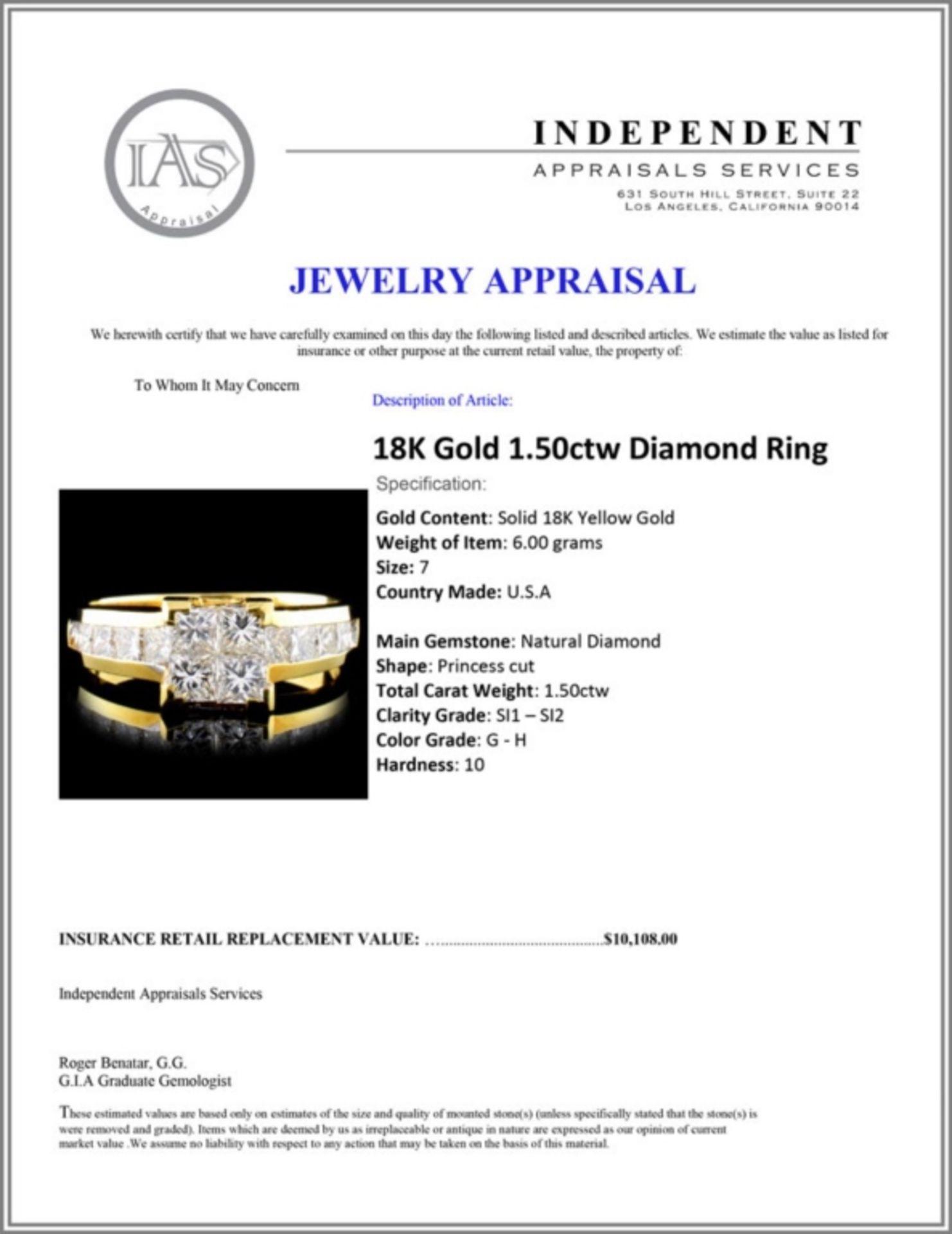 18K Gold 1.50ctw Diamond Ring - Image 5 of 5