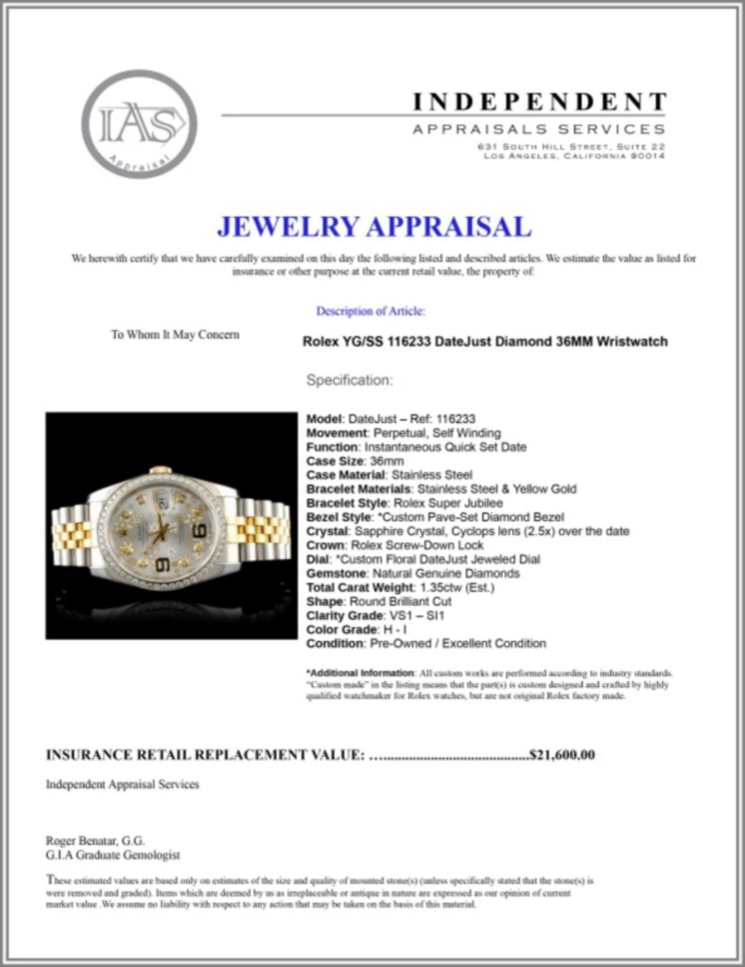 Rolex DateJust 116233 18K YG/SS Diamond 36MM Watch - Image 7 of 7
