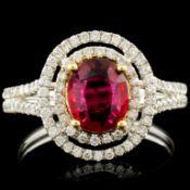 18K Gold 1.01ct Ruby & 0.50ctw Diamond Ring