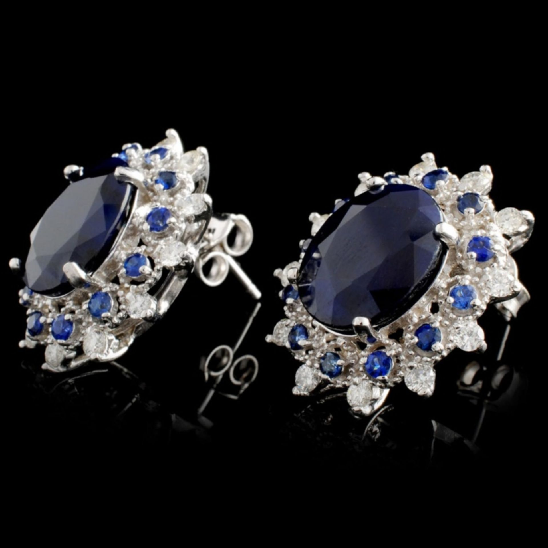 14K Gold 8.00ct Sapphire & 0.50ctw Diamond Earring - Image 2 of 3