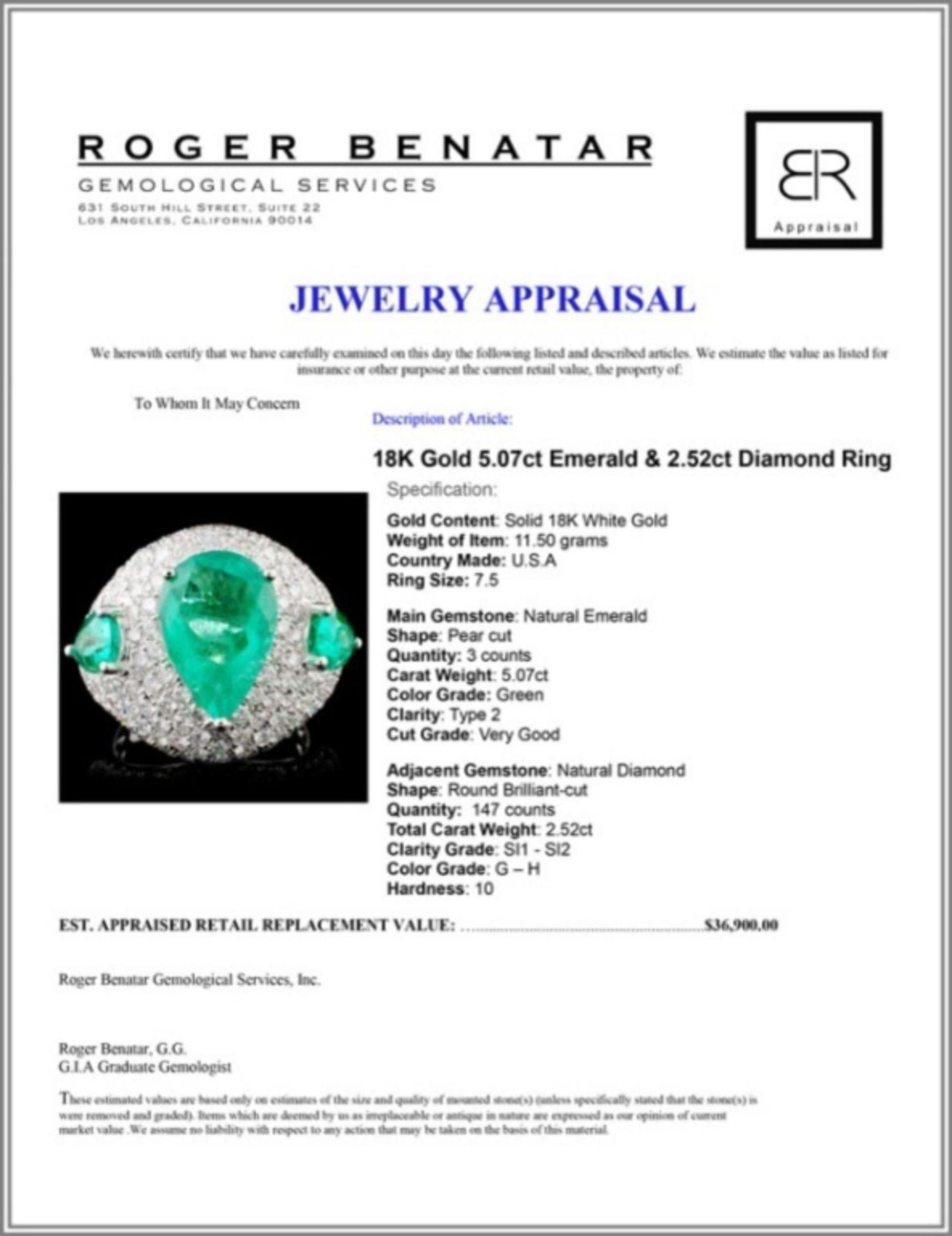 18K Gold 5.07ct Emerald & 2.52ct Diamond Ring - Image 4 of 4