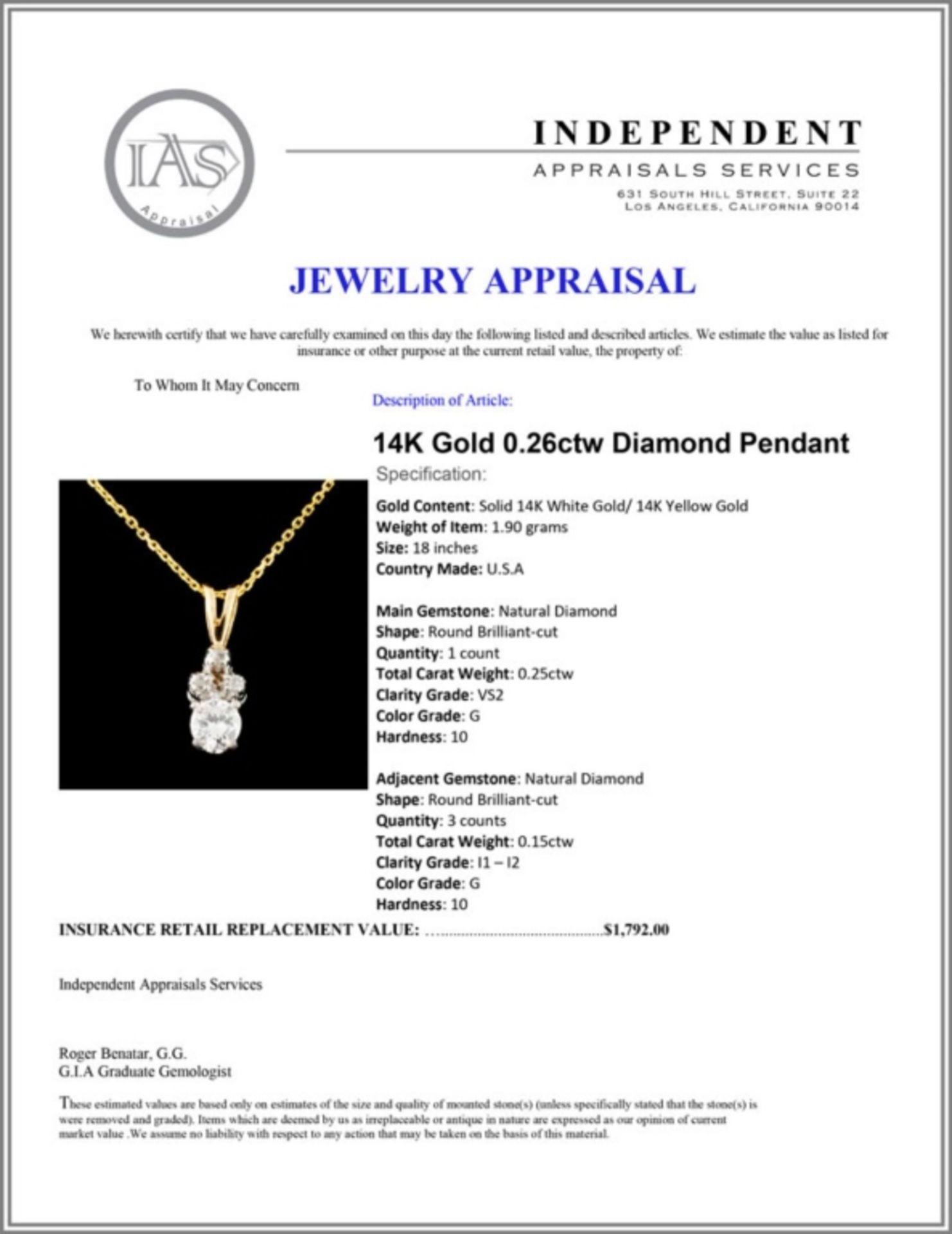 14K Gold 0.26ctw Diamond Pendant - Image 4 of 4