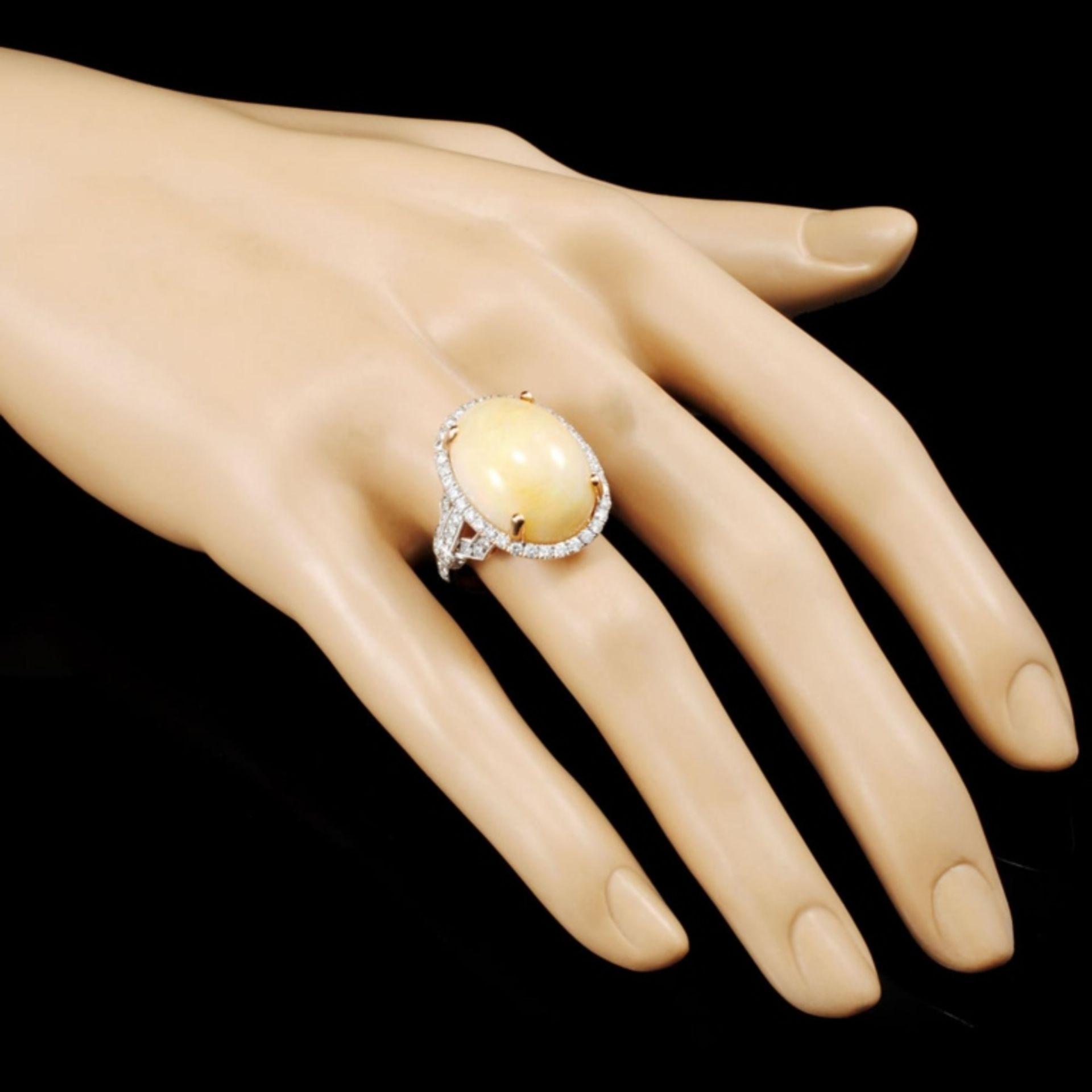 14K Gold 12.04ct Opal & 1.06ctw Diamond Ring - Image 3 of 5