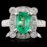 18K White Gold 1.53ct Emerald & 1.00ct Diamond Rin