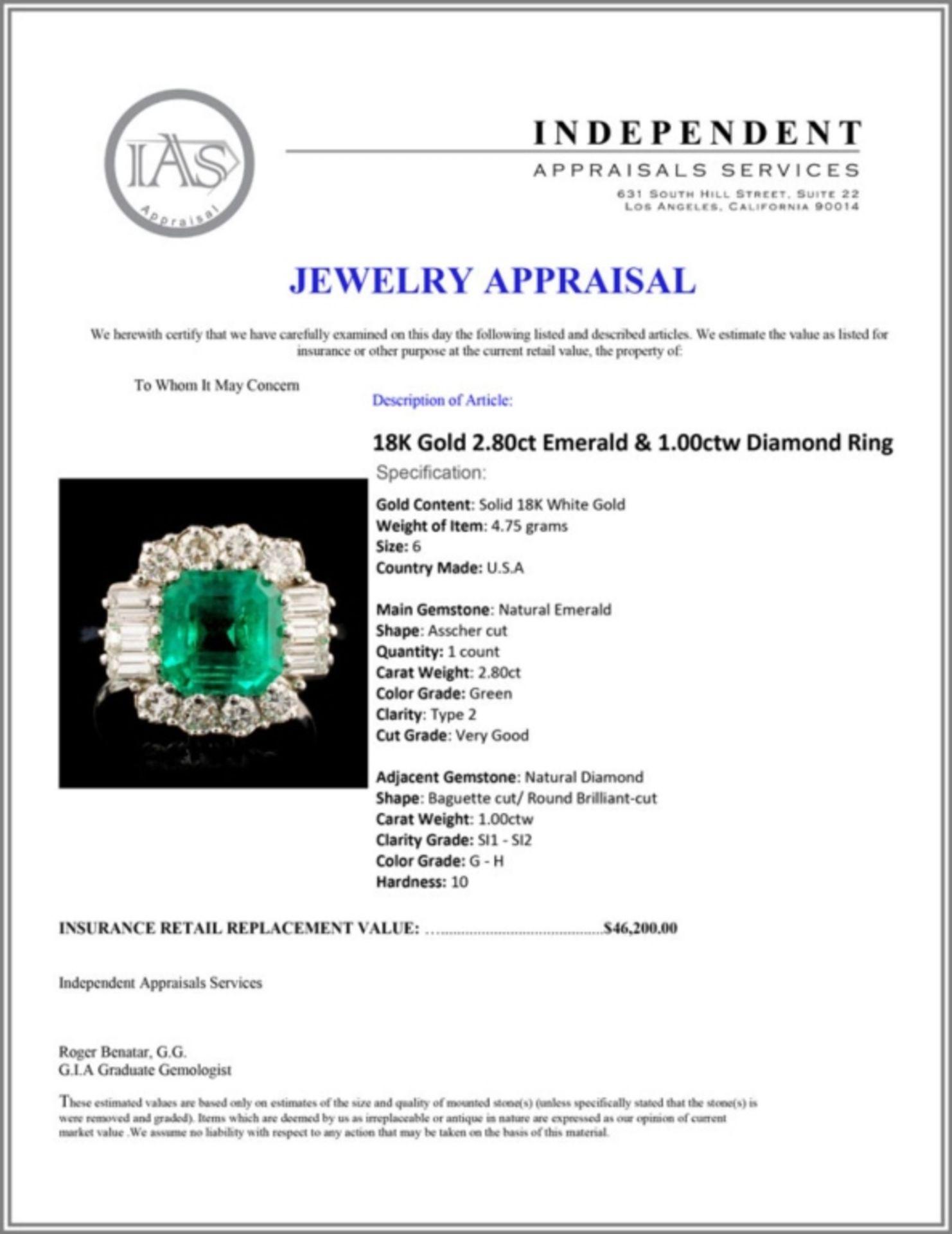 18K Gold 2.80ct Emerald & 1.00ctw Diamond Ring - Image 5 of 5