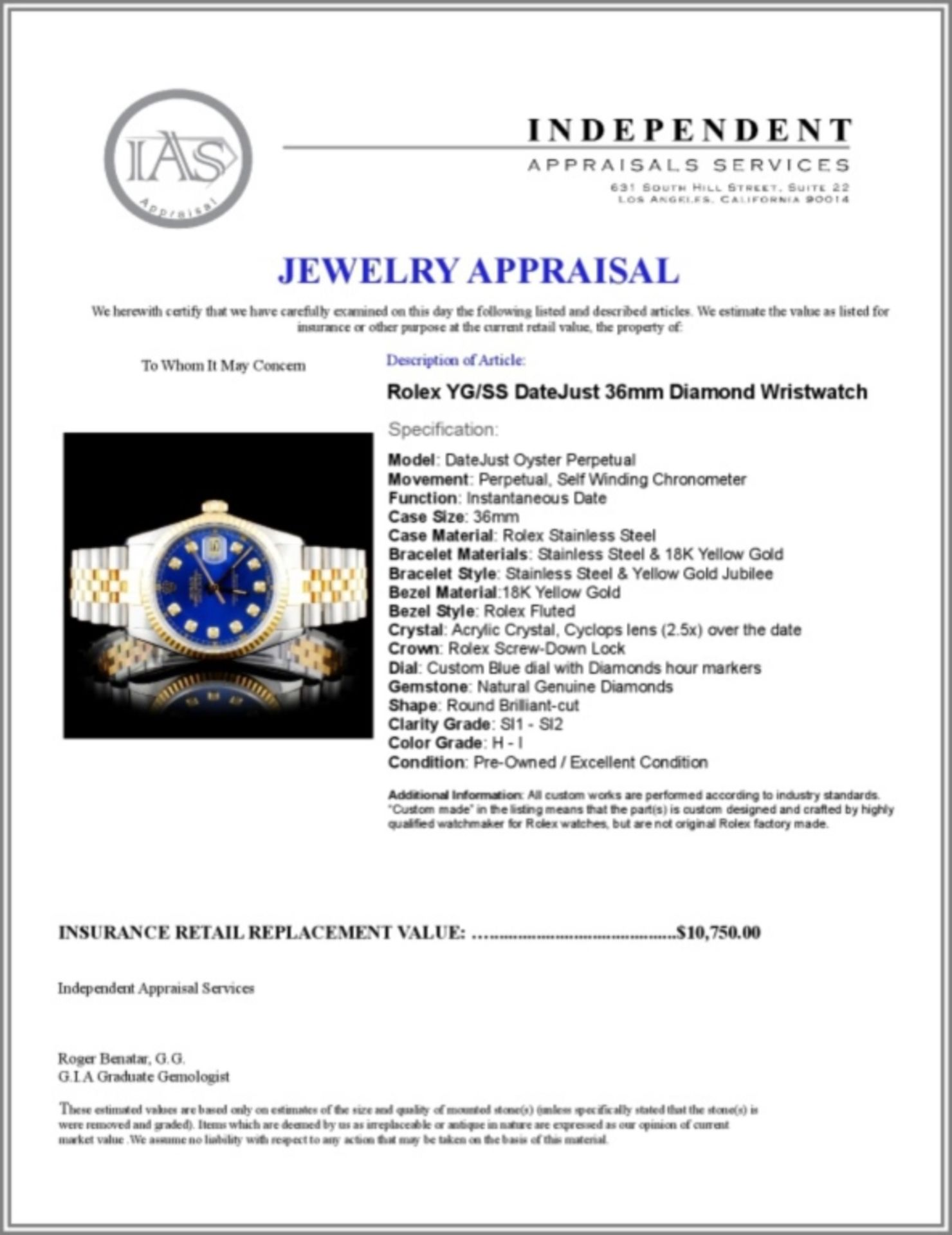 Rolex YG/SS DateJust Diamond 36MM Wristwatch - Image 5 of 5