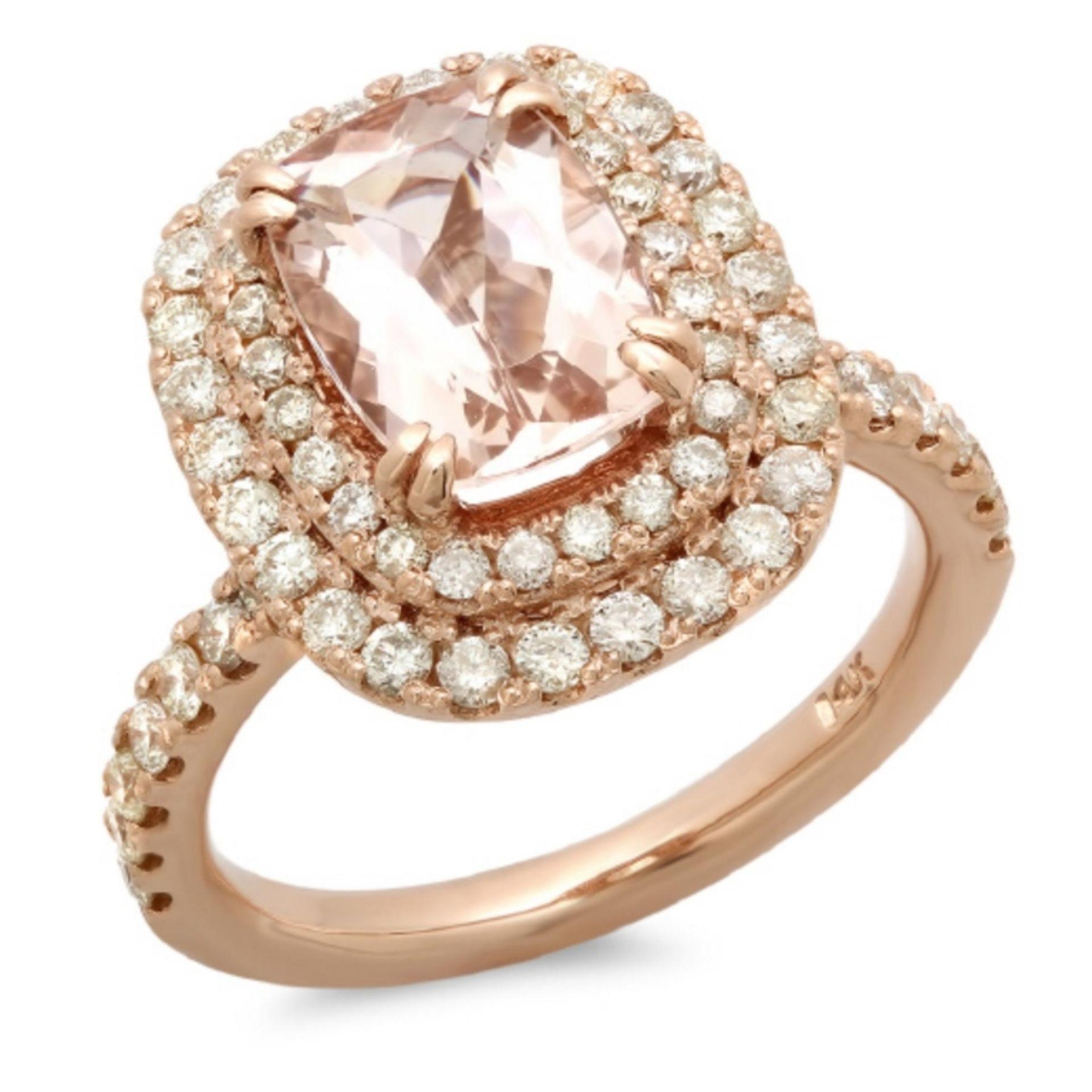 14K Gold 2.00ct Morganite & 1.00ct Diamond Ring