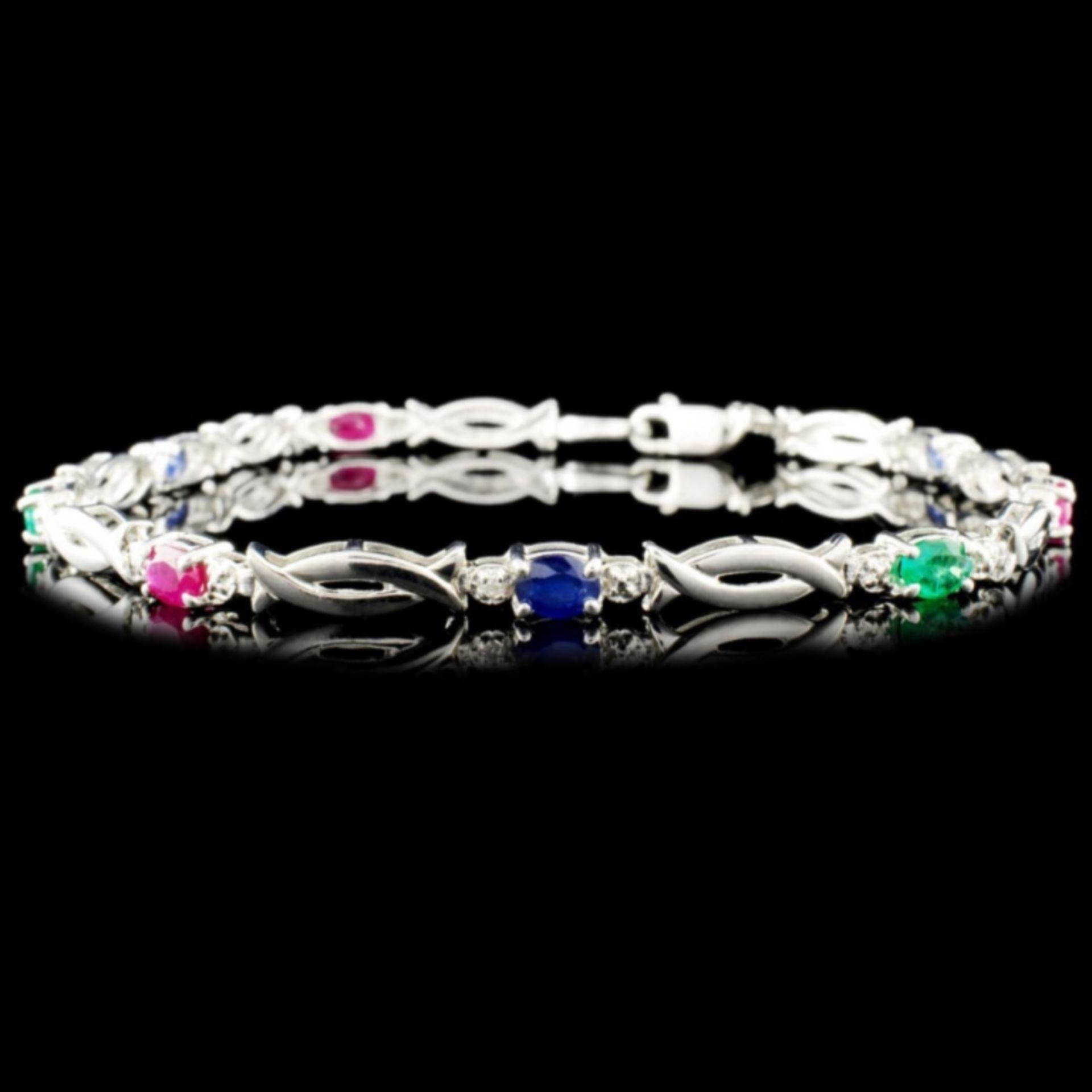 10K Gold 1.44ct Sapphire & 0.01ctw Diamond Bracele