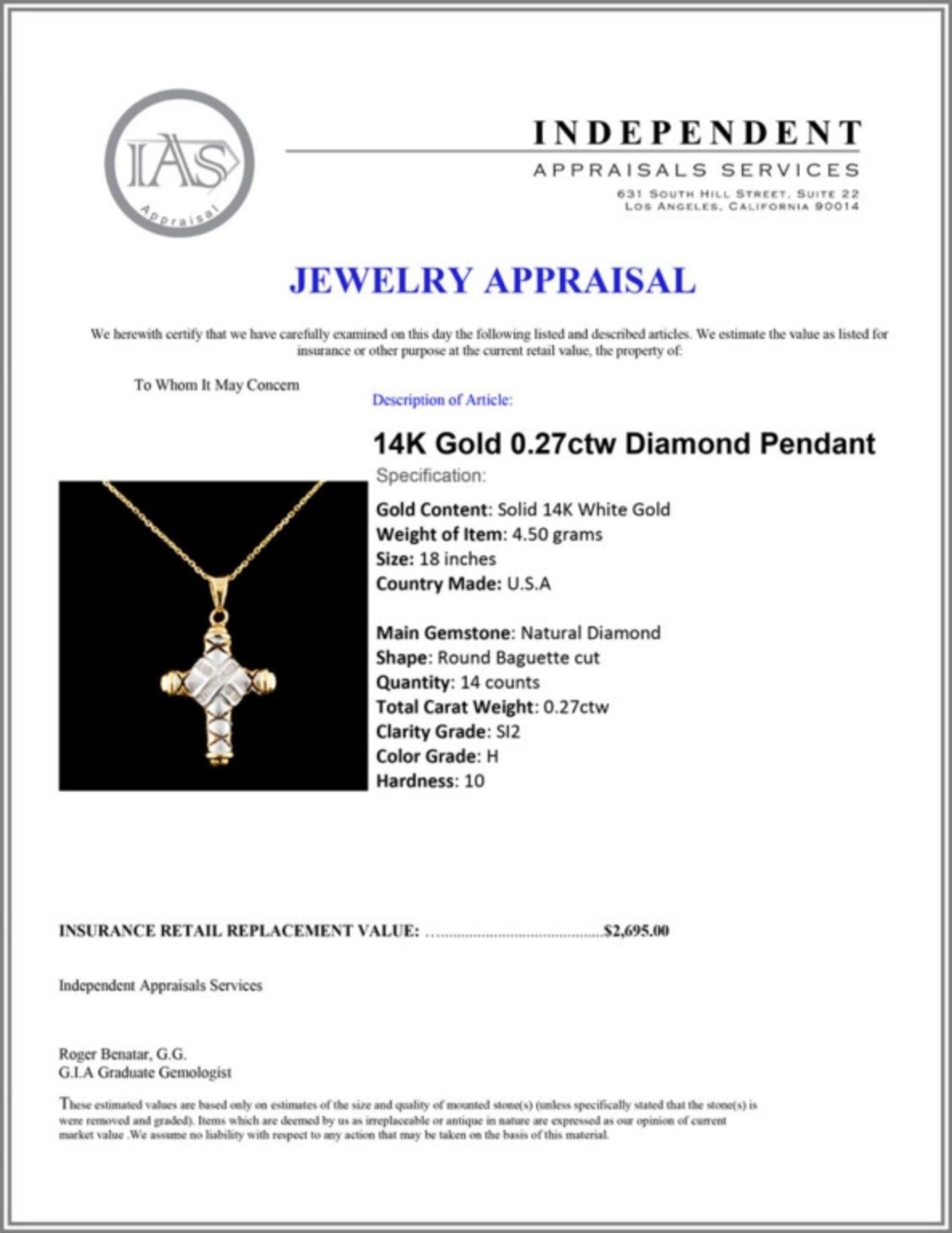 14K Gold 0.27ctw Diamond Pendant - Image 4 of 4
