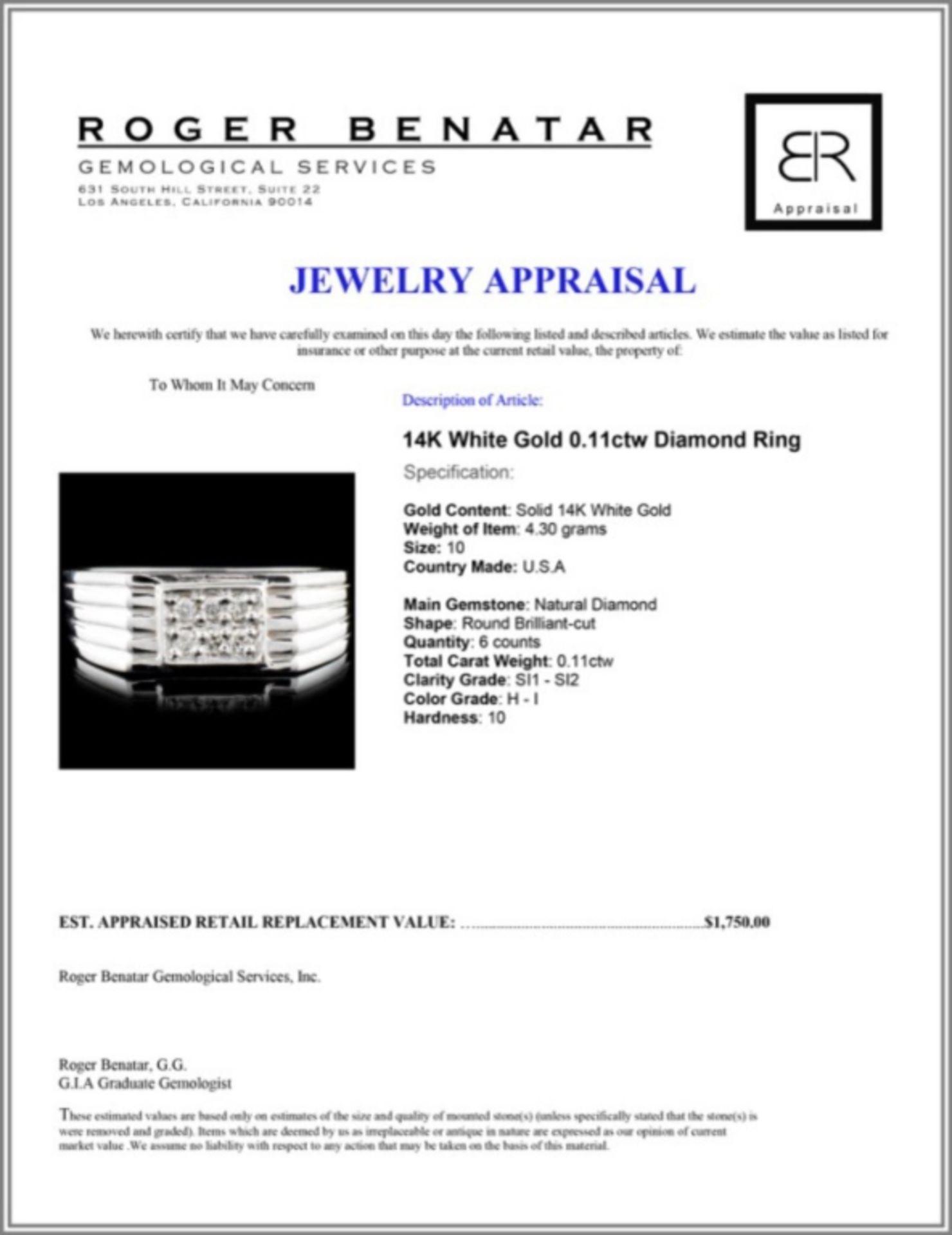 14K Gold 0.11ctw Diamond Ring - Image 3 of 3