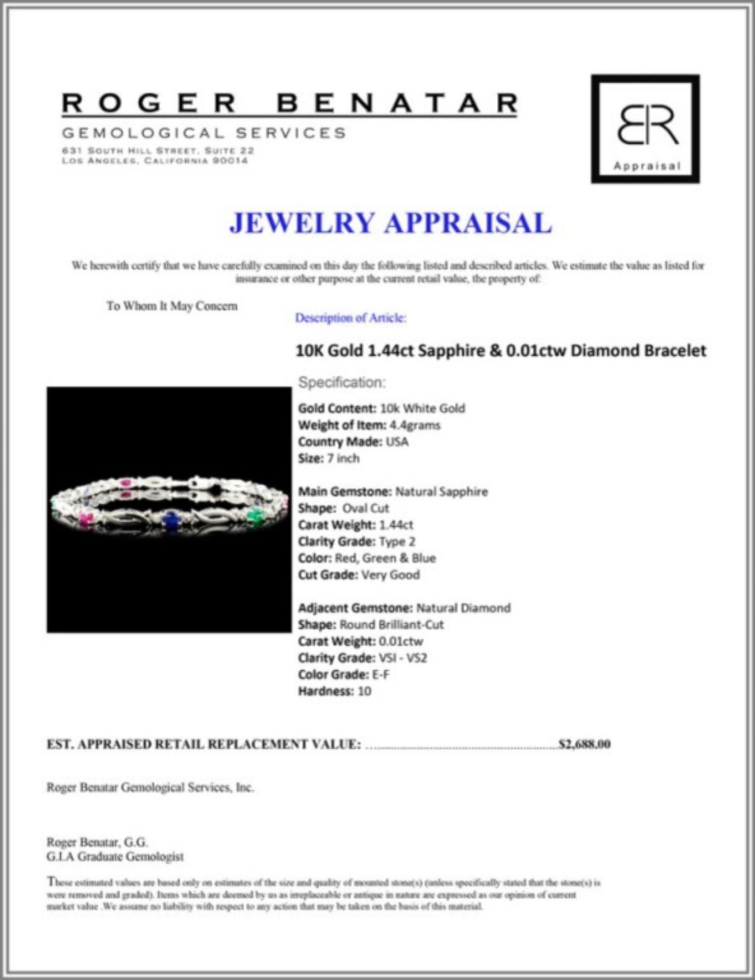 10K Gold 1.44ct Sapphire & 0.01ctw Diamond Bracele - Image 4 of 4