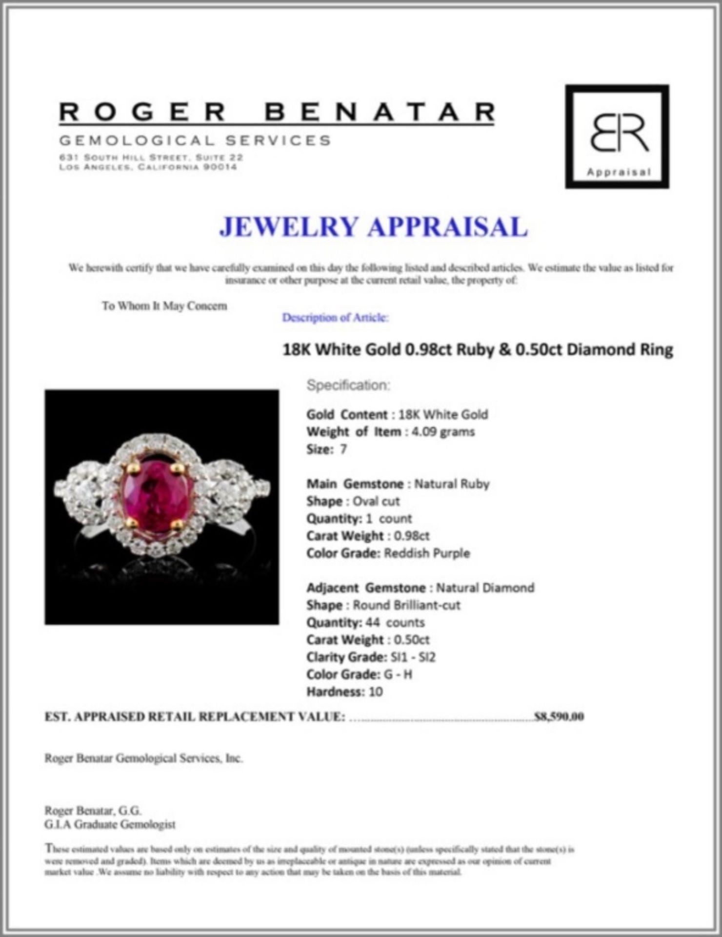 18K White Gold 0.98ct Ruby & 0.50ct Diamond Ring - Image 4 of 4