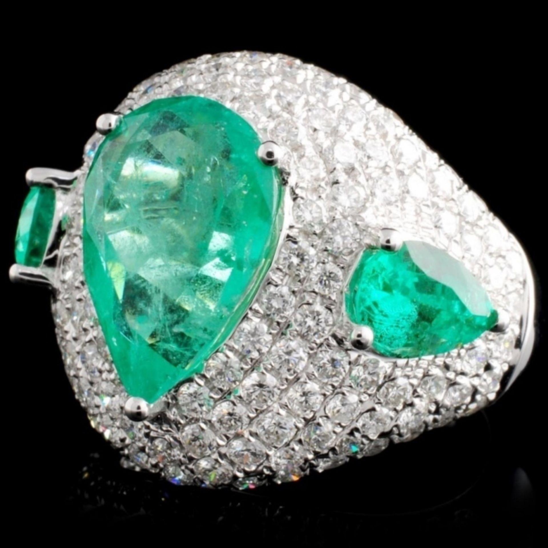 18K Gold 5.07ct Emerald & 2.52ct Diamond Ring - Image 2 of 4