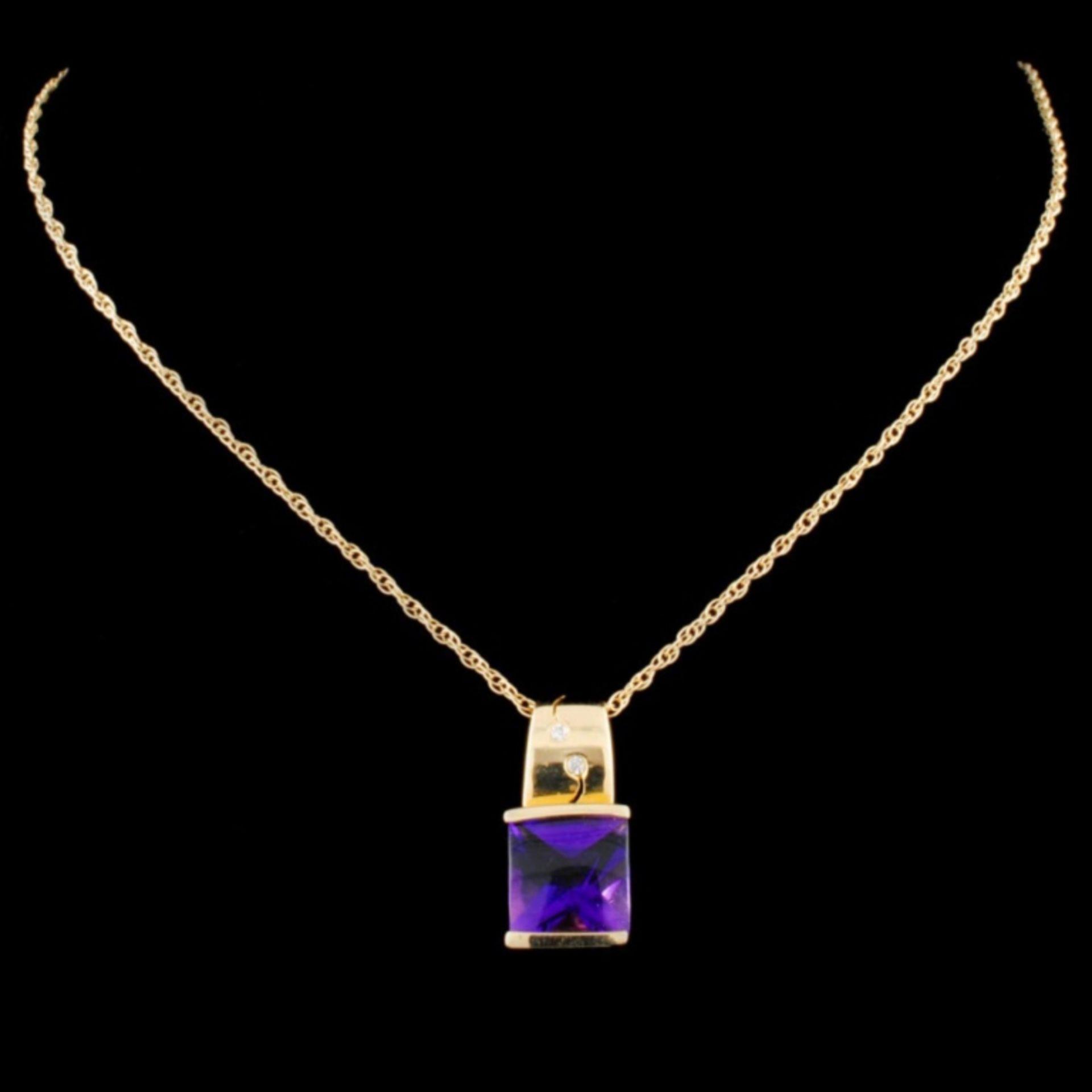 14K Gold 2.50ct Amethyst & 0.03ctw Diamond Pendant - Image 2 of 2