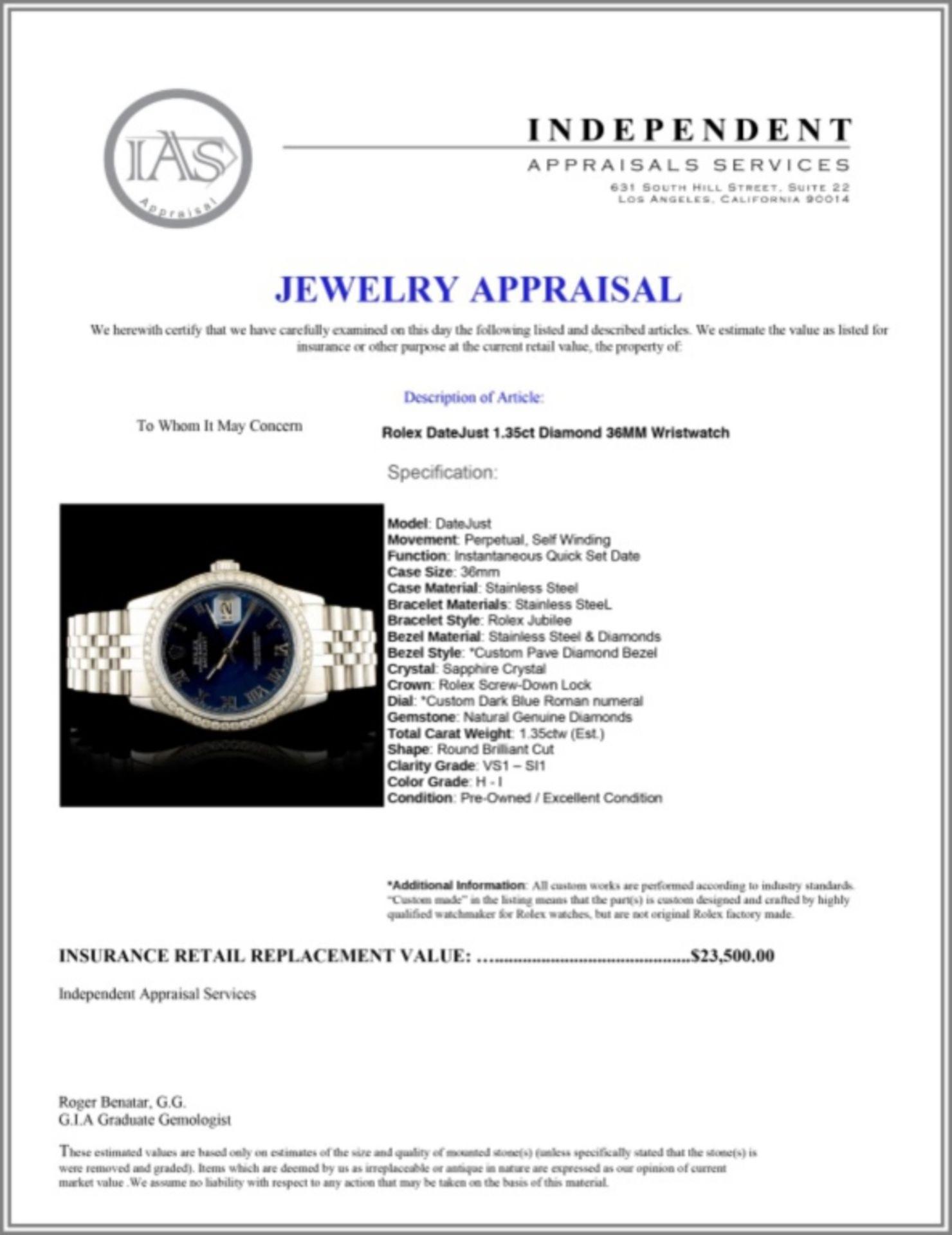 Rolex DateJust 1.35ct Diamond 36MM Wristwatch - Image 4 of 4