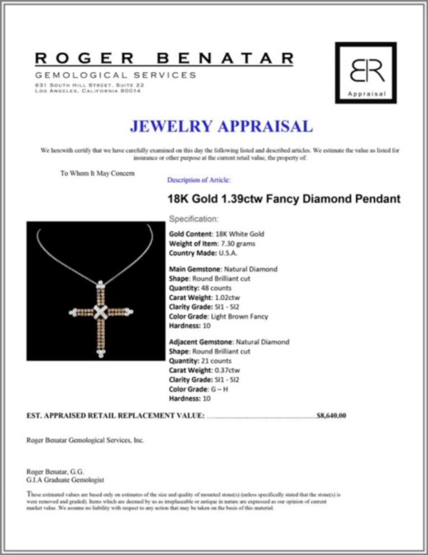 18K Gold 1.39ctw Fancy Diamond Pendant - Image 3 of 3