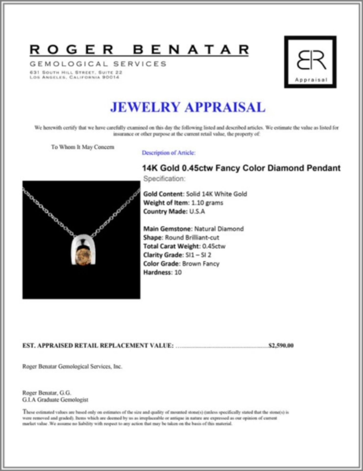 14K Gold 0.45ctw Fancy Color Diamond Pendant - Image 3 of 3